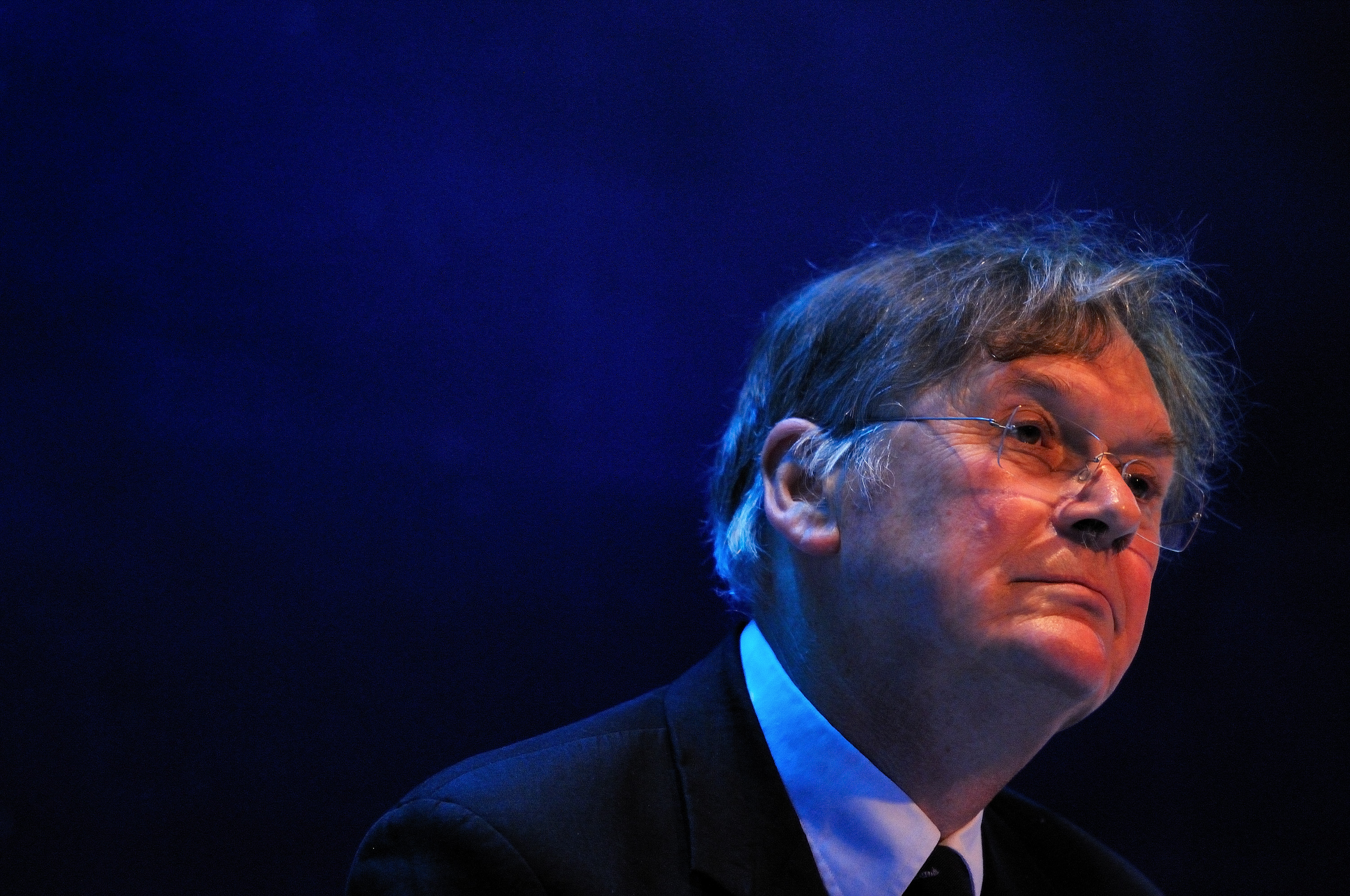 English biochemist Tim Hunt speaks during a session at the World Economic Forum Annual Meeting of the New Champions at Dalian international conference center on September 12, 2013 in Dalian, China.