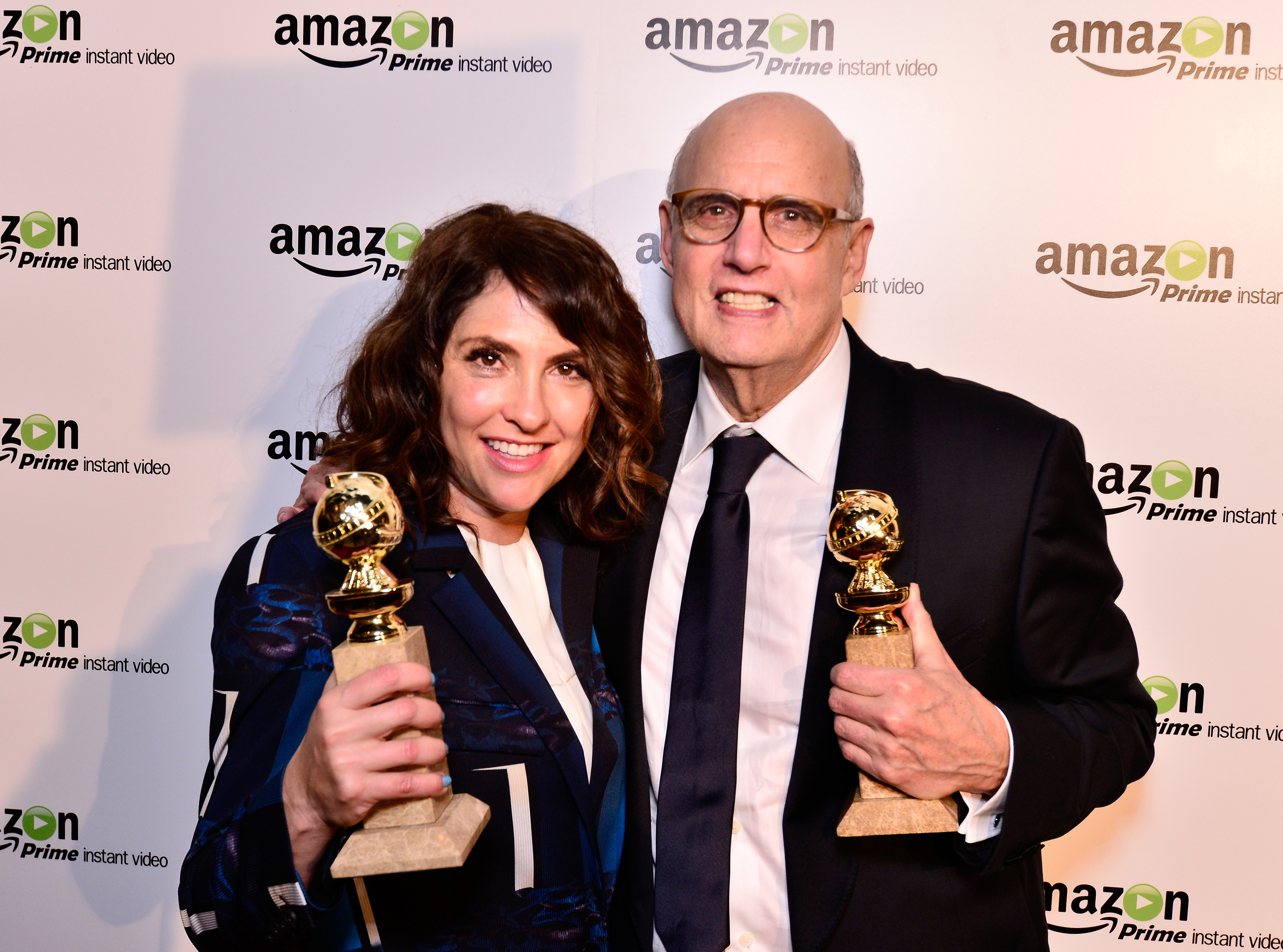 Show creator/director Jill Soloway, left and actor Jeffrey Tambor attend the  Transparent  Cast and Crew Golden Globes Viewing Party at The London West Hollywood on January 11, 2015 in West Hollywood, Calif.