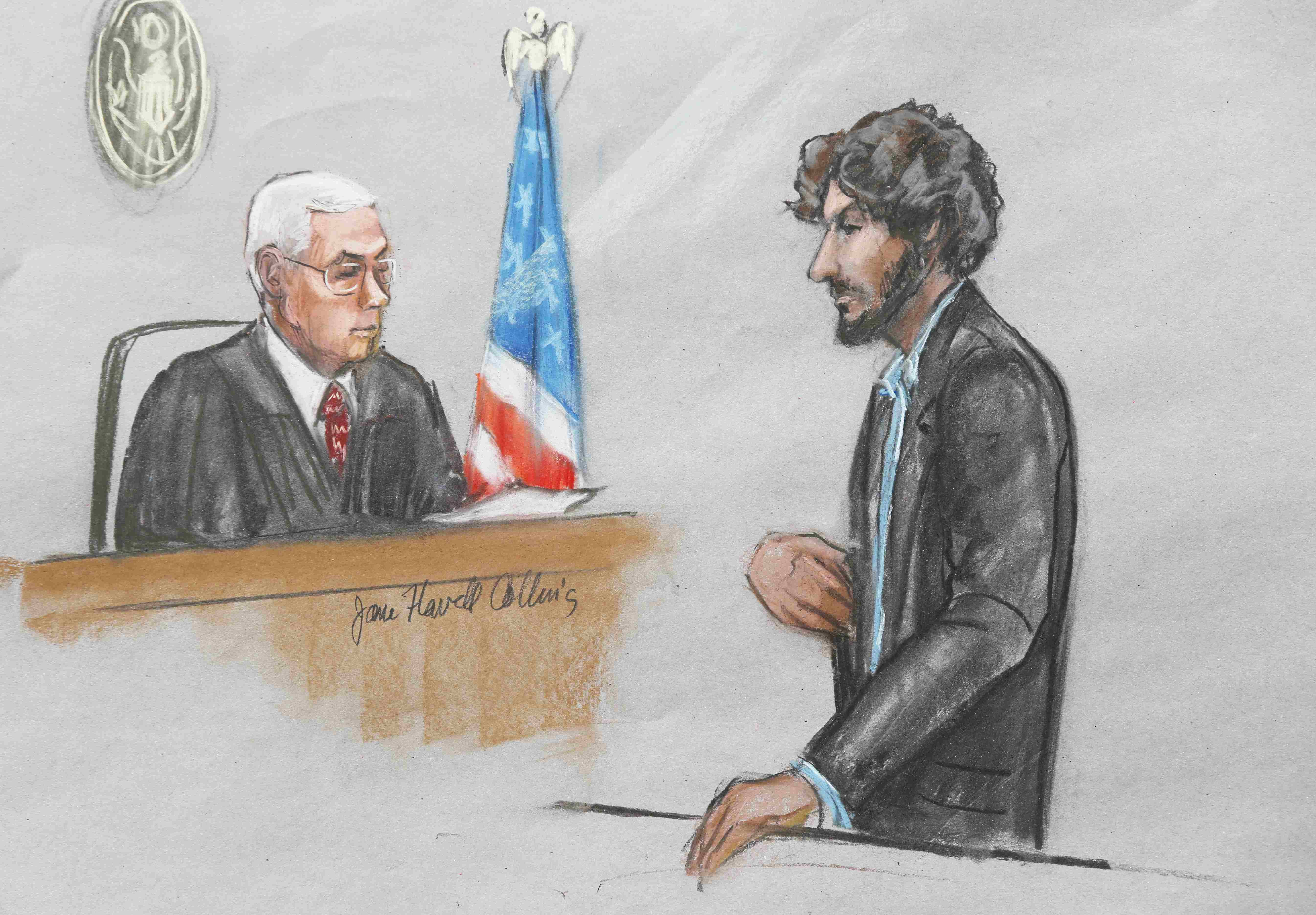 A courtroom sketch shows Boston Marathon bomber Dzhokhar Tsarnaev (R) speaking as U.S. District Judge George O'Toole looks on during his sentencing hearing in Boston, Mass. on June 24, 2015.