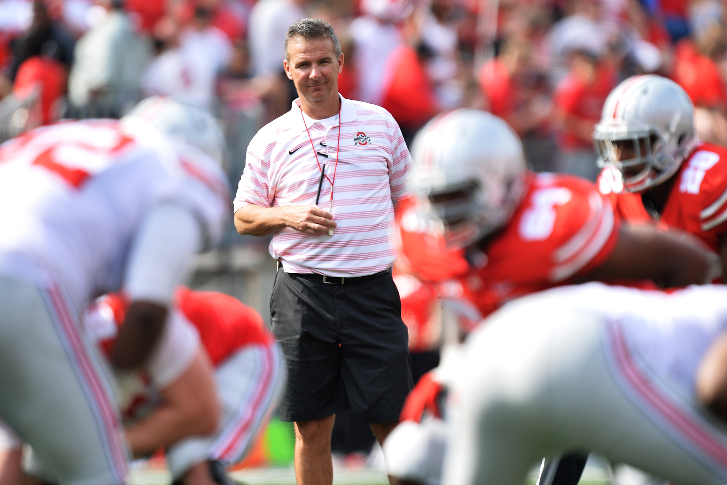 Head Coach Urban Meyer of the Ohio State Buckeyes watches his team scrimmage against each other during the annual Ohio State Spring Game at Ohio Stadium on April 18, 2015 in Columbus, Ohio.