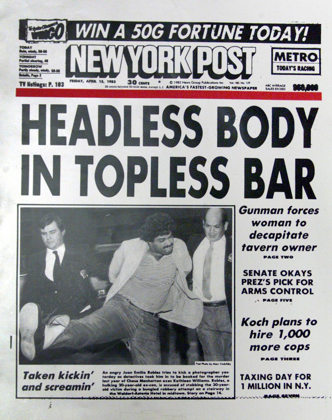 New York Post front page on April 15, 1983.