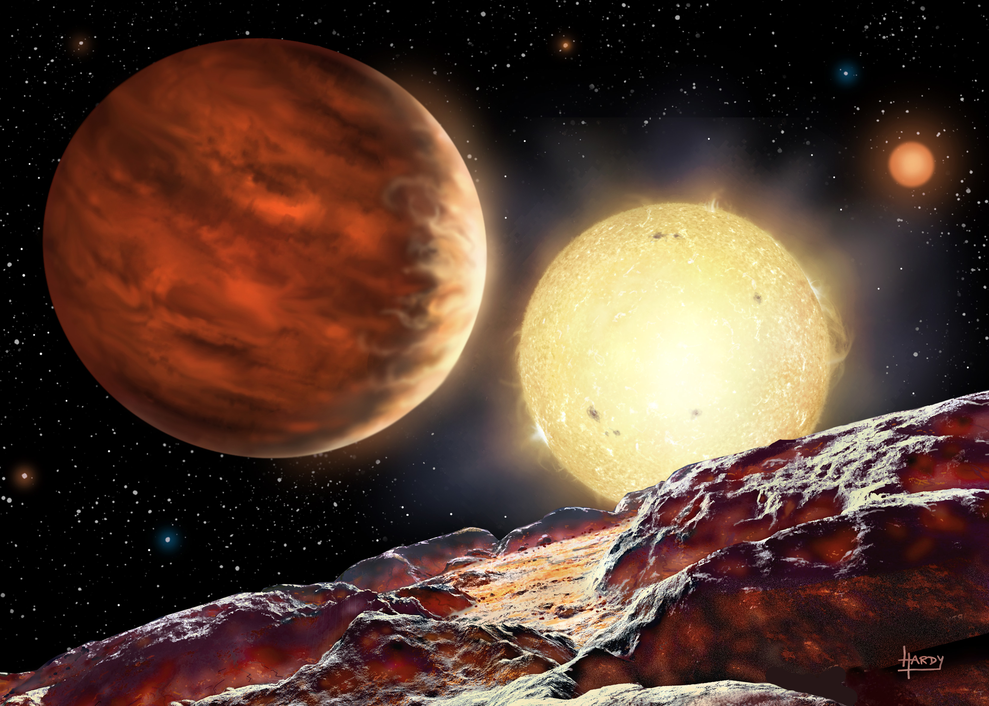 An artist's rendition of the new planet, named WASP-142b.