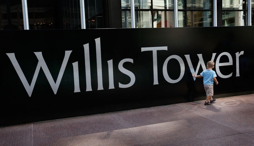 The Willis Tower sign.