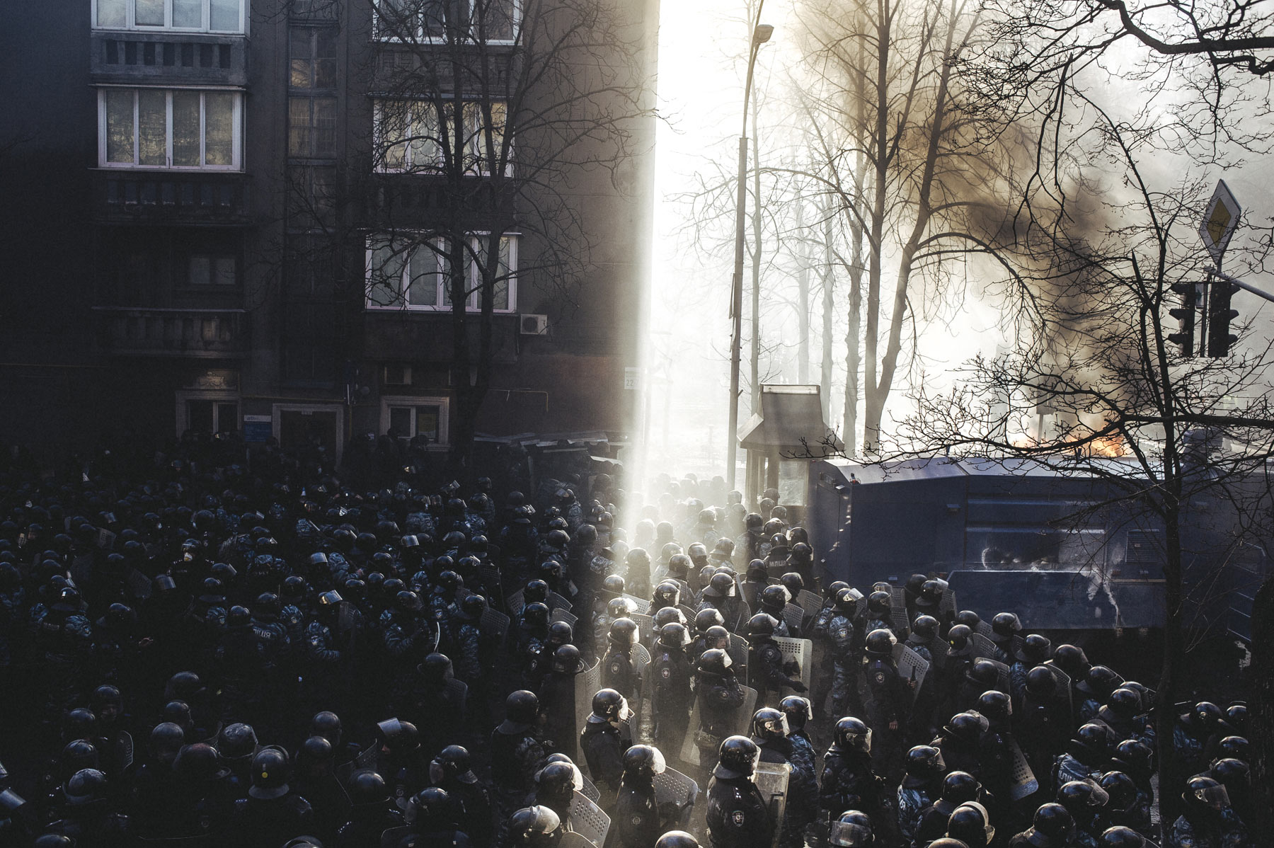 Riot police began to storm Maidan after clashes on Shelkovichna street. Feb. 18, 2014, Kiev, Ukraine. From the series  Culture of the Confrontation