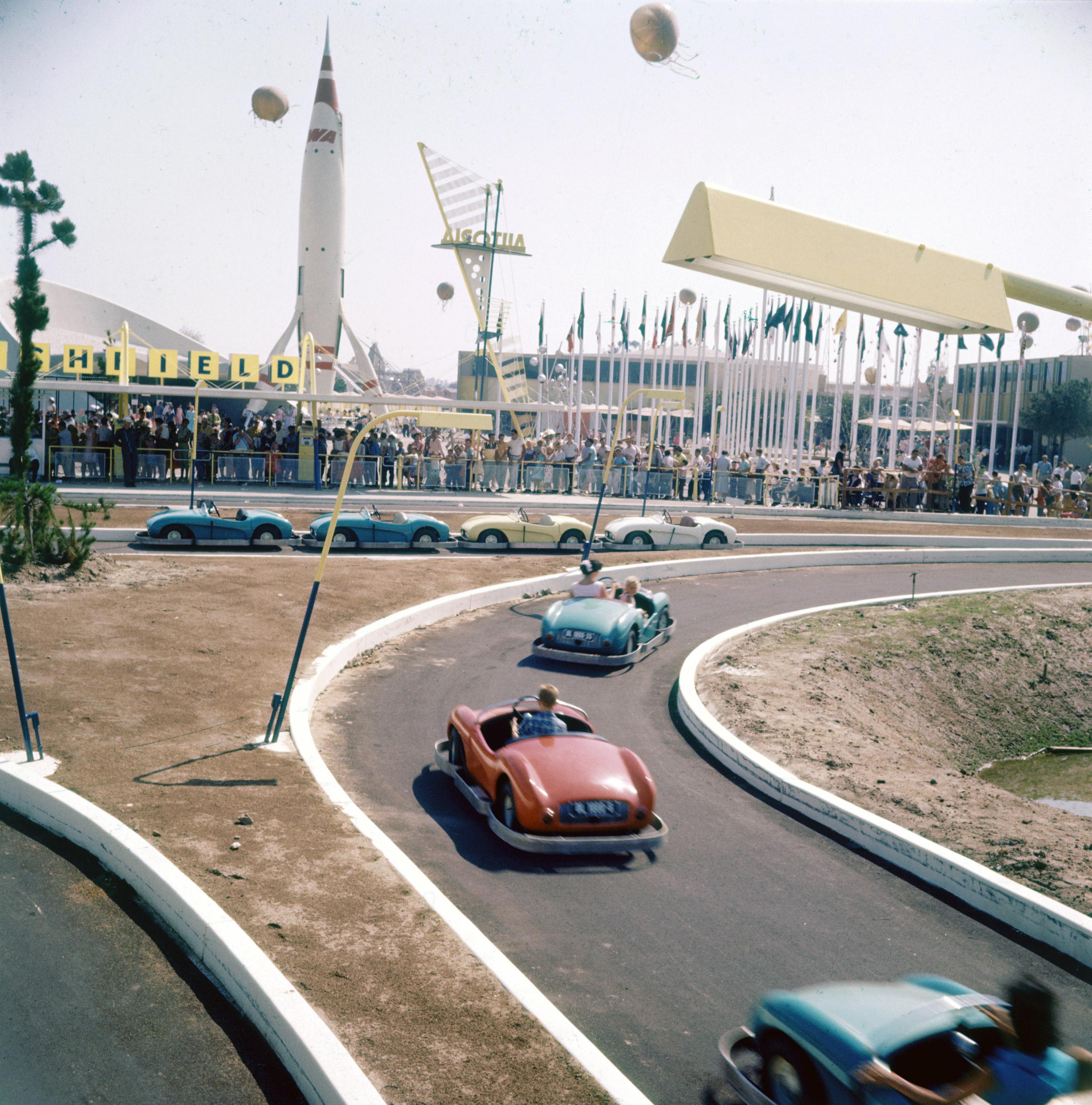 Rides at Disneyland in 1955.
