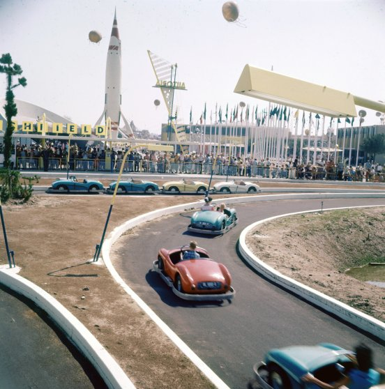 Rides at Disneyland in 1955.