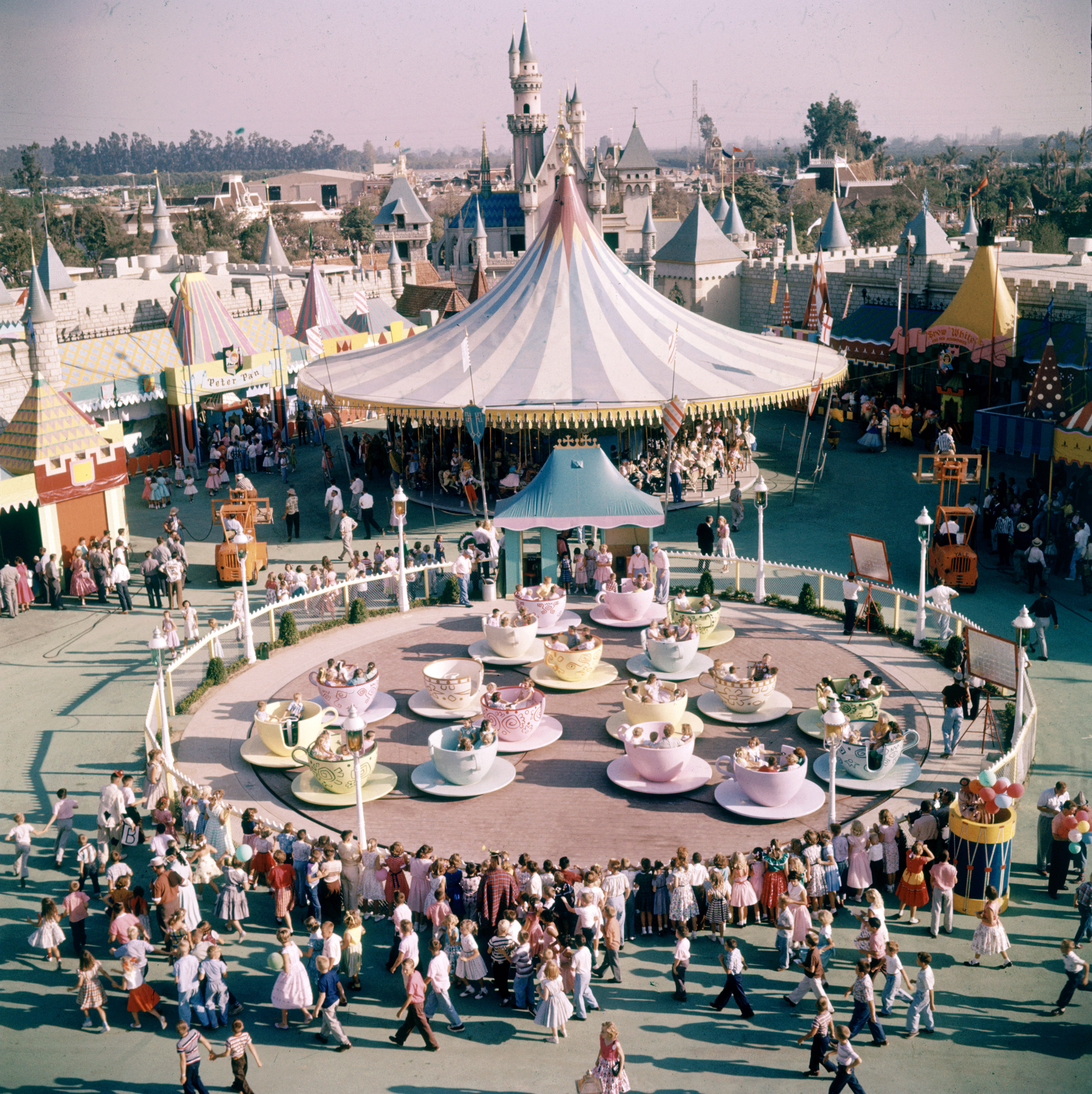 People riding the teacup ride at Disneyland Amusement Park, 1955.
