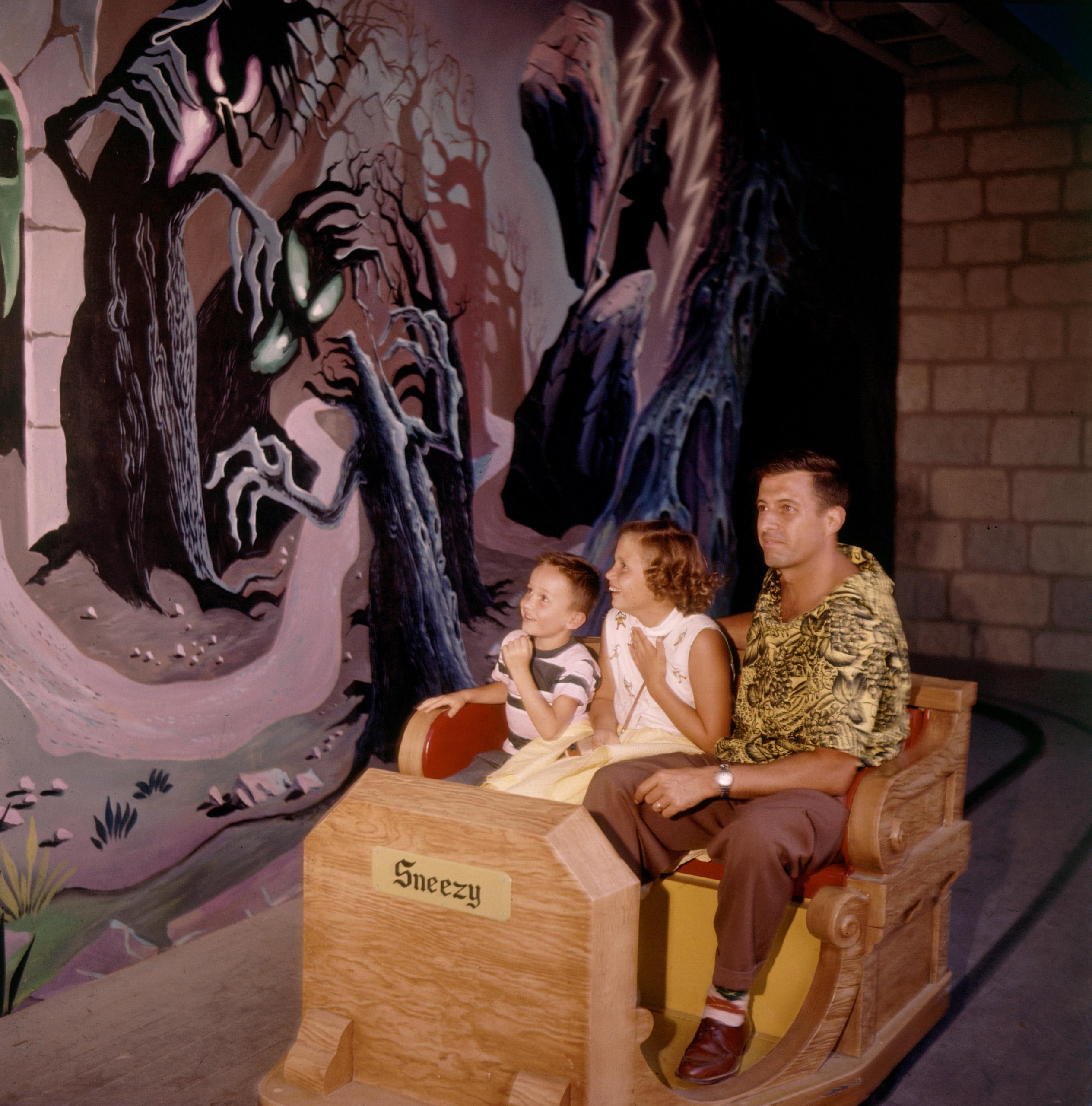 Children scared during Snow White ride at Disneyland Amusement Park, 1955.