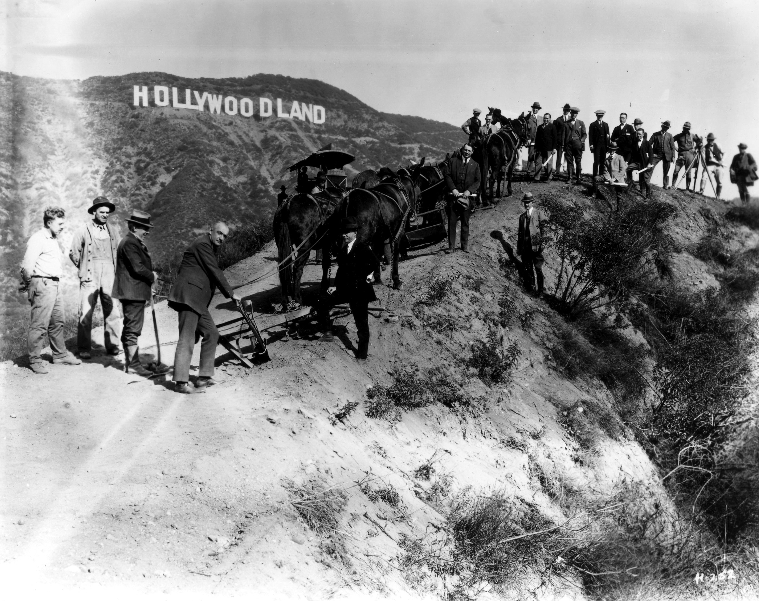 Dedication of the sign, 1923.