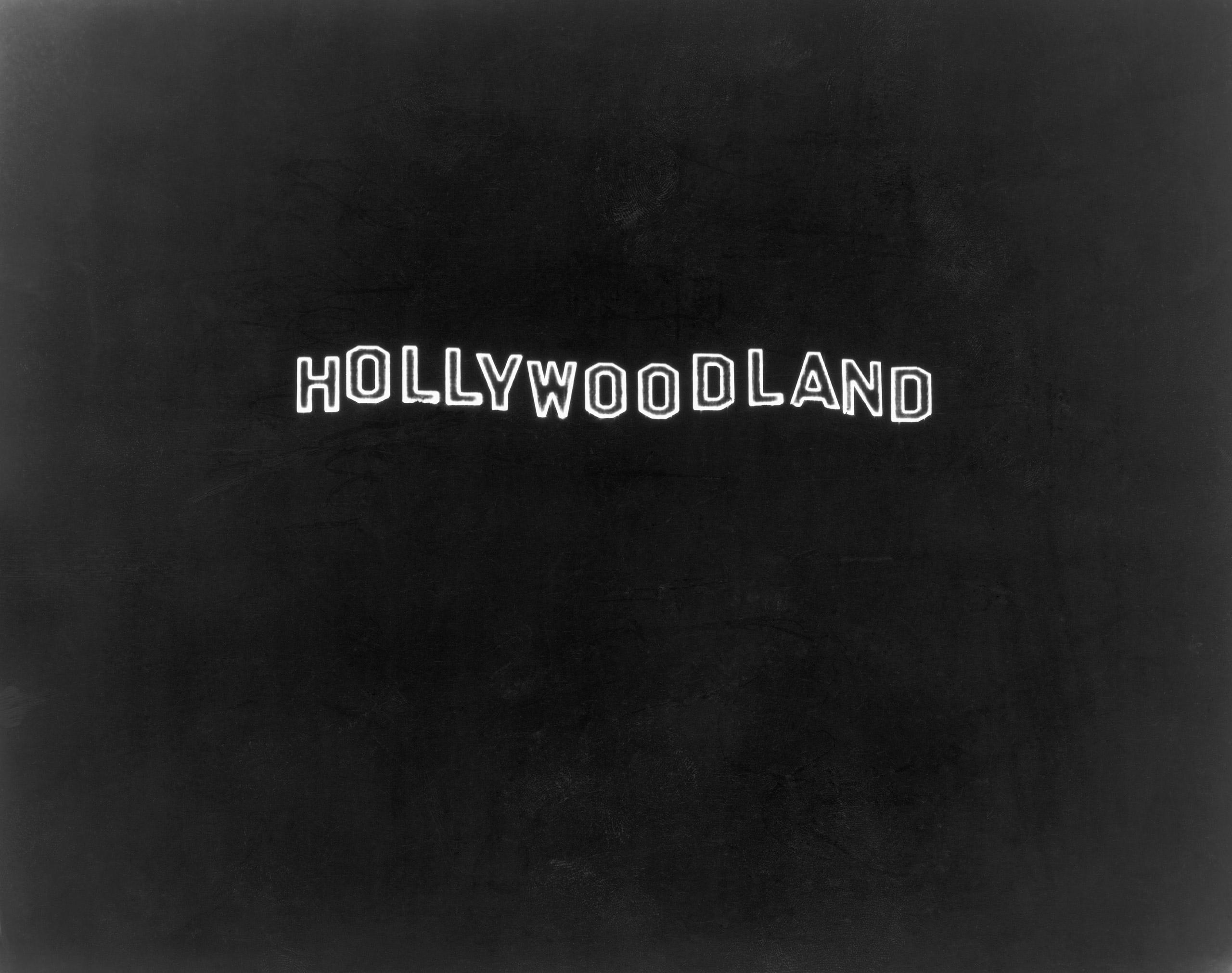 Hollywoodland sign at night, 1928.