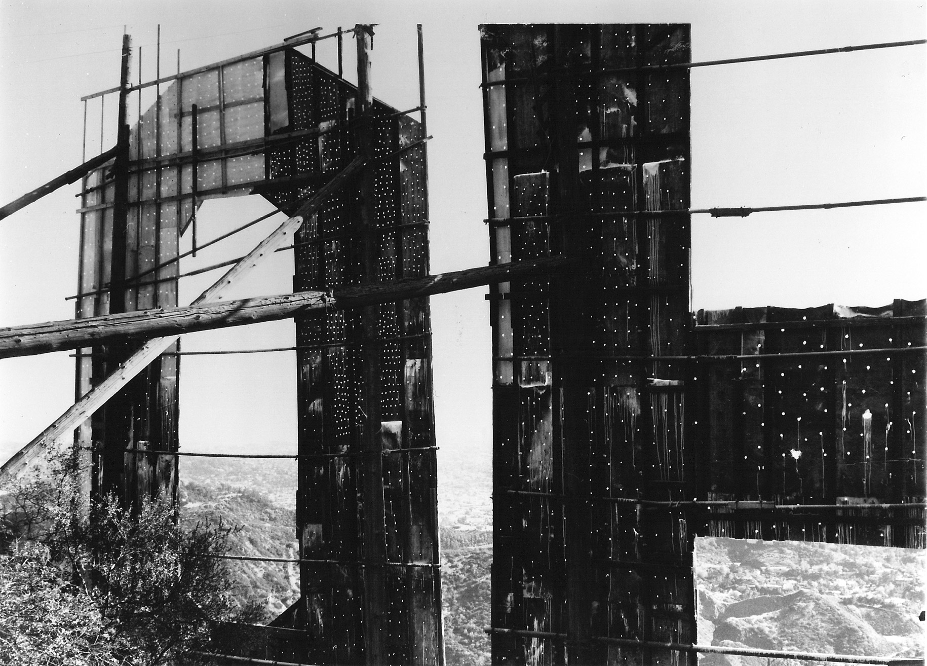 Hollywood sign in disrepair, 1973.