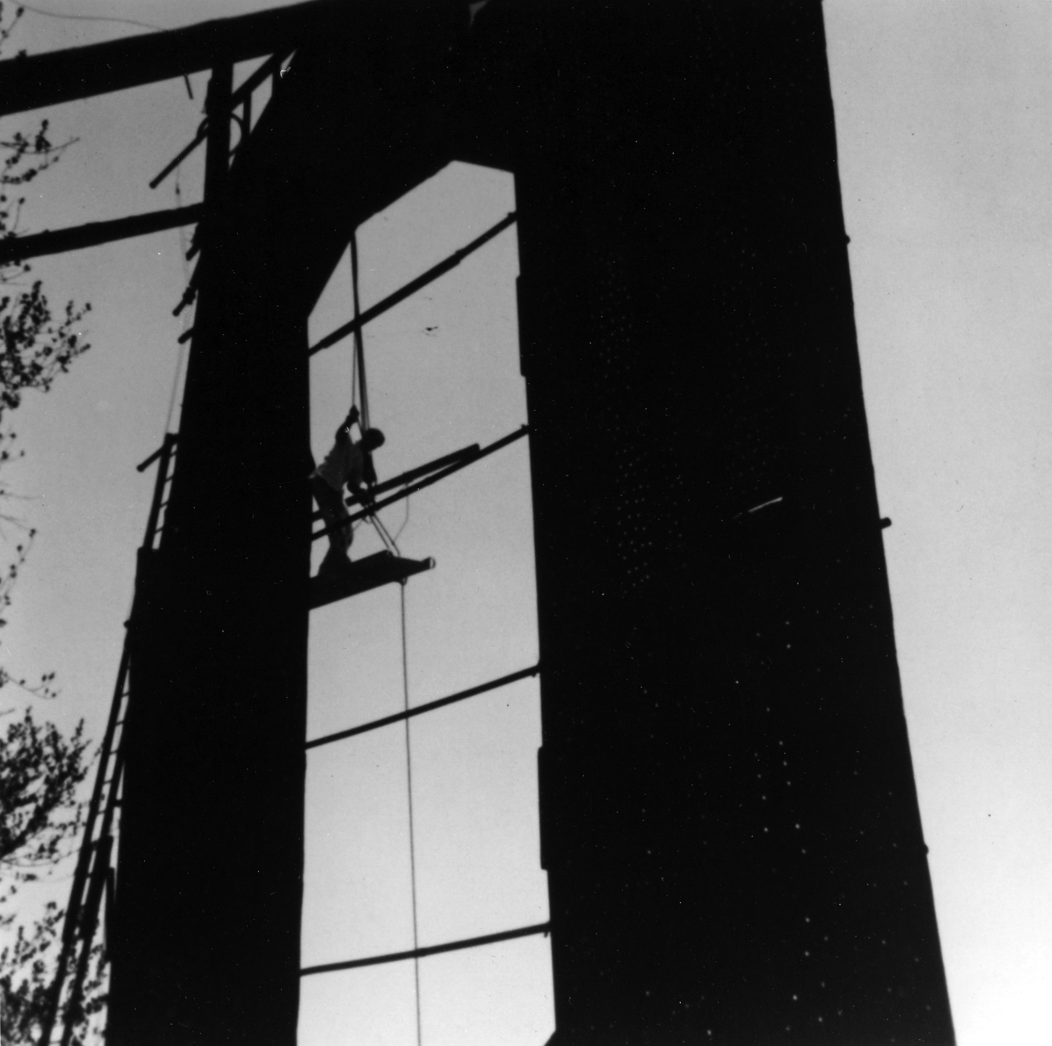 Refurbishing the Hollywood sign, 1973.