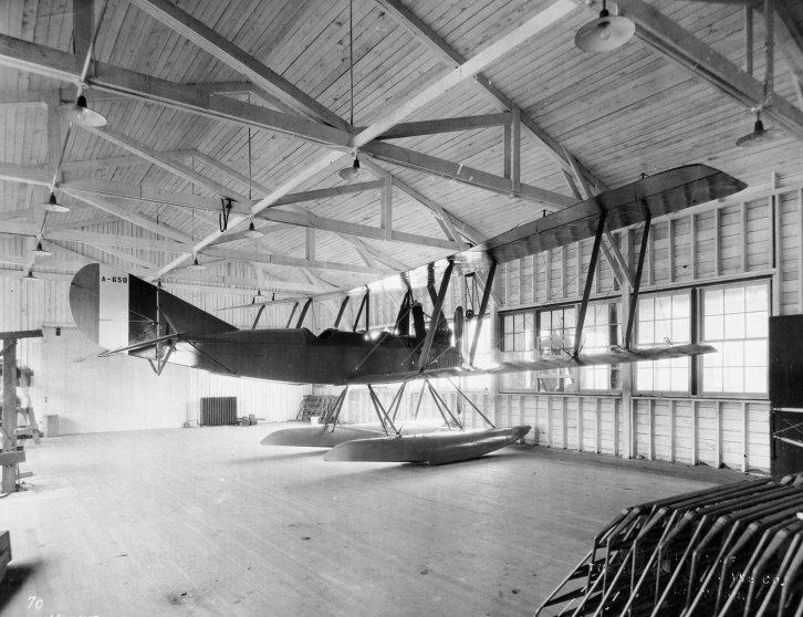 A Boeing Model C awaits flight in Boeing's Lake Union boathouse in Seattle.