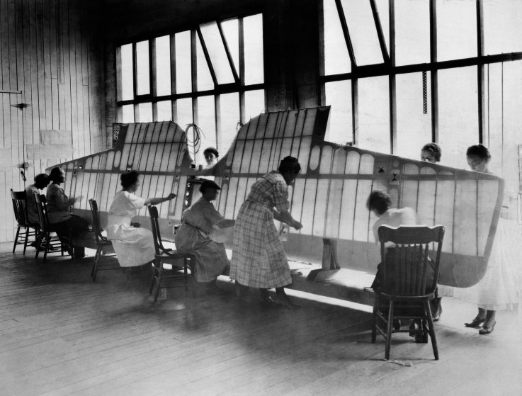 Boeing Factory Workers Sewing a MB-3A Wing