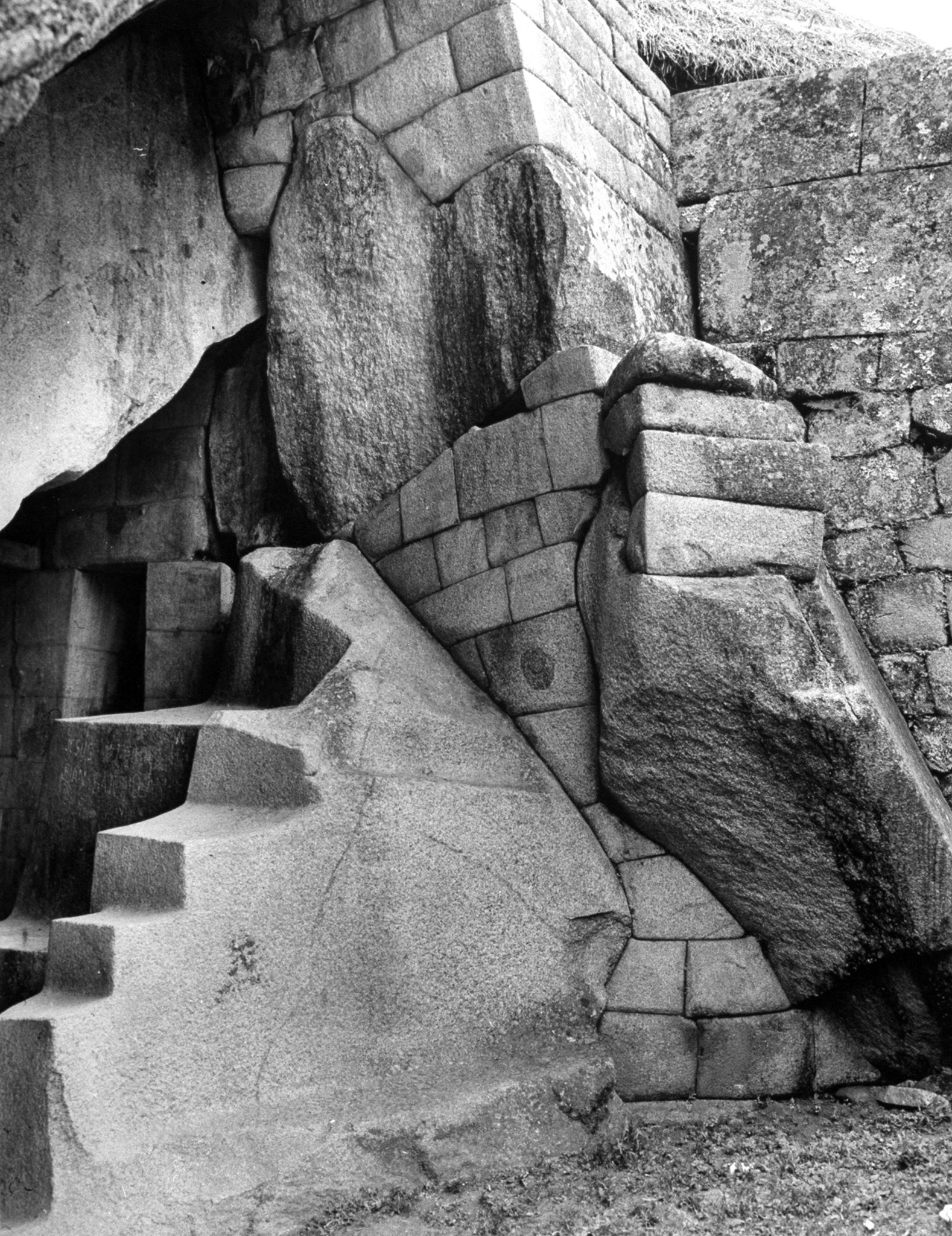"""<b>Caption from LIFE.</b> Magnificent cave entrance into the so-called """"Princess Tower"""" is fitted with highly polished masonry. Fine workmanship indicates it was for royalty."""