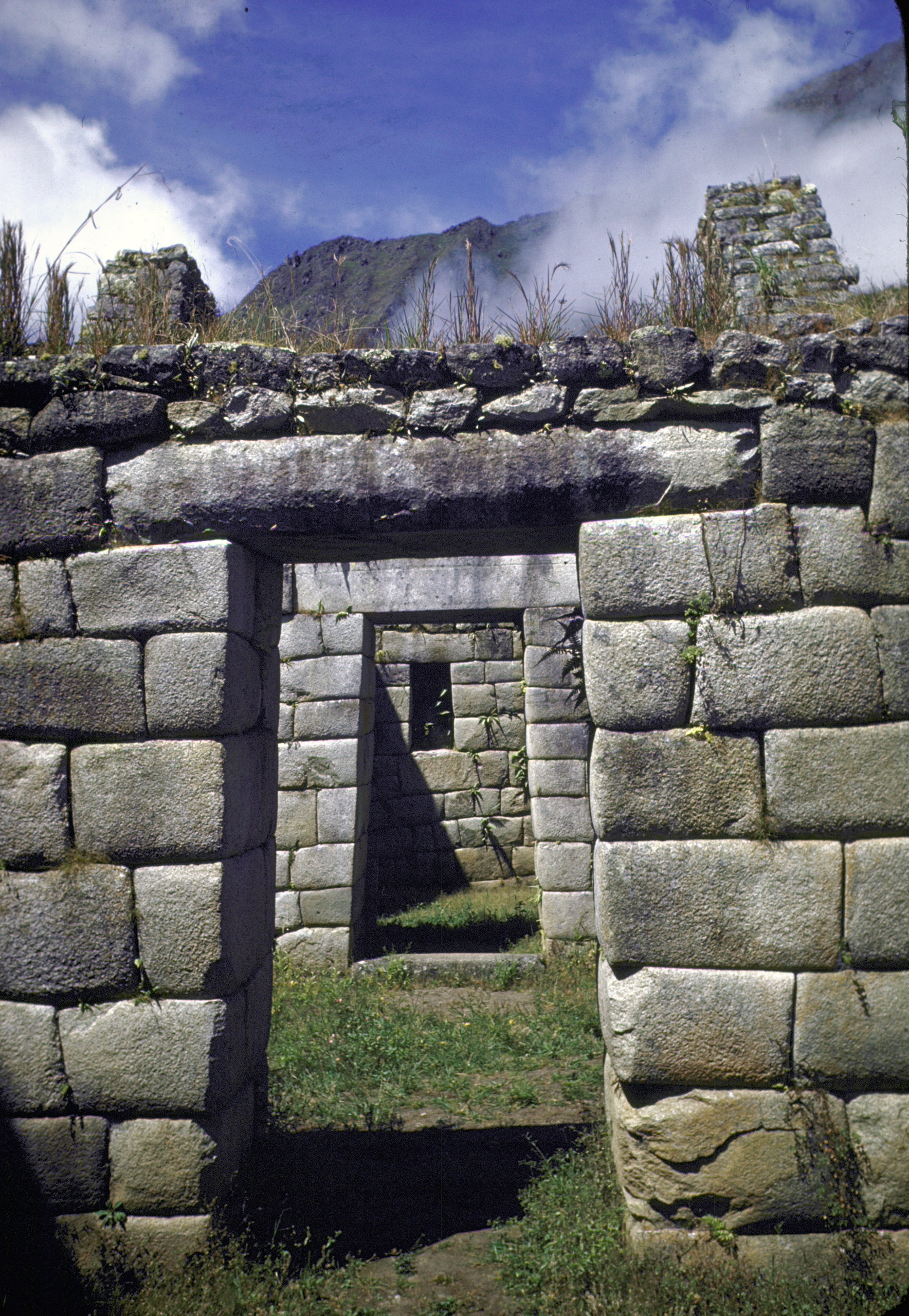 Trapezoidal entry doors at Incan ruins of Machu Picchu, 1945.