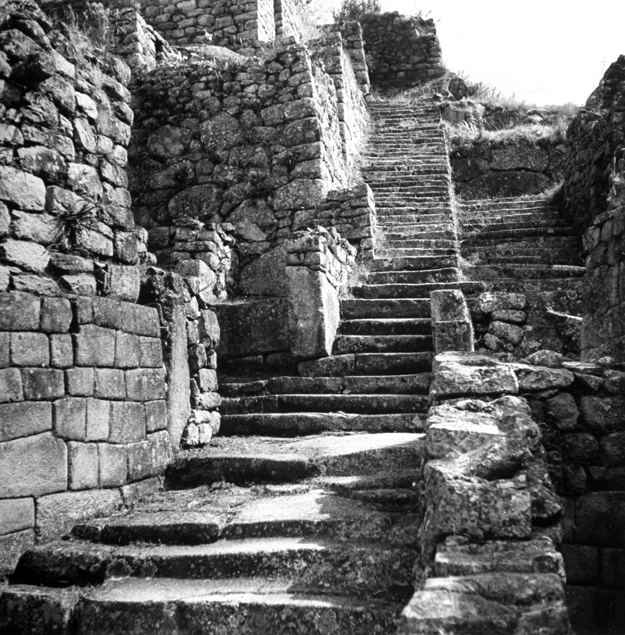 The staircase leading up the Machu Picchu, 1945.