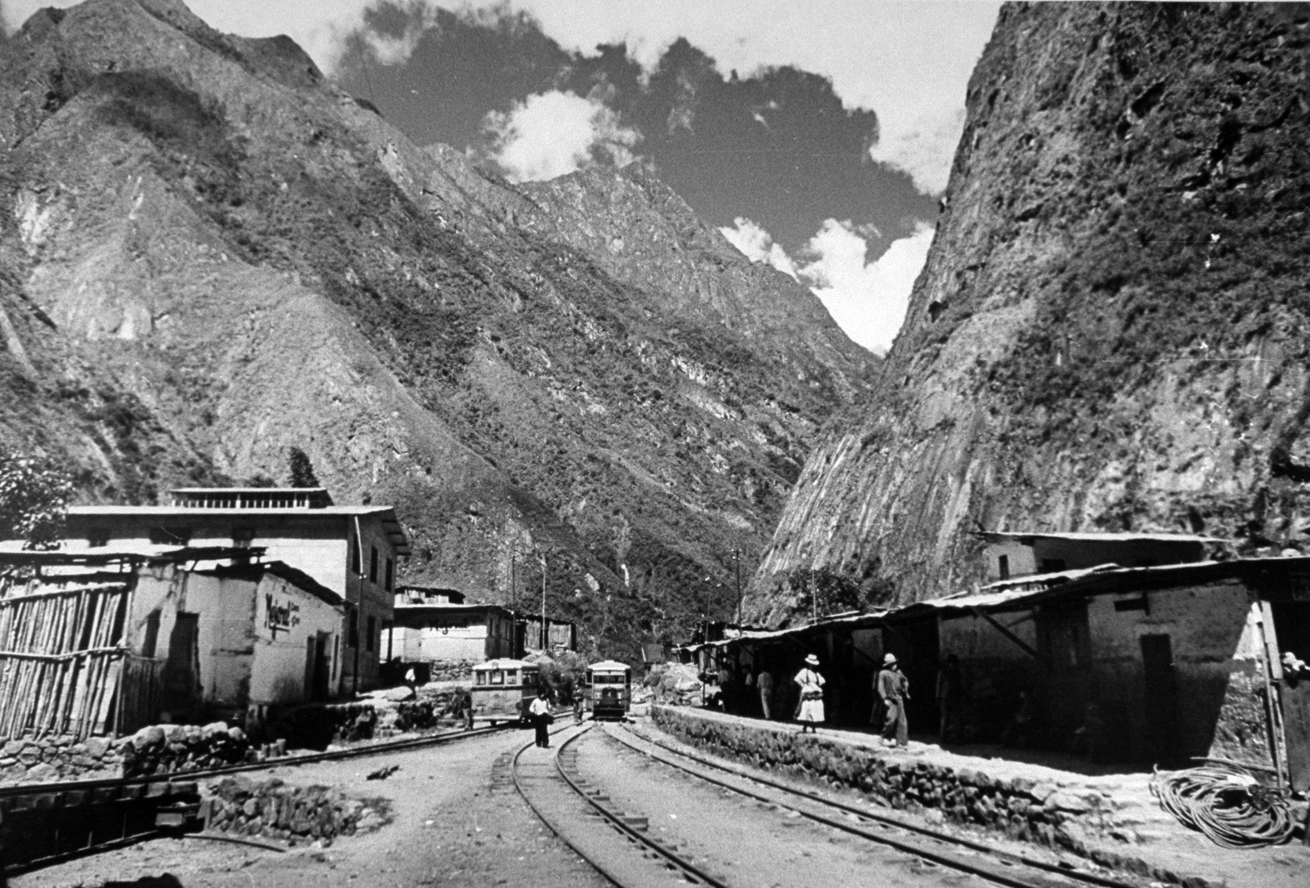 The train arriving in the village of Machu Picchu, where the railroad ends, 1945.