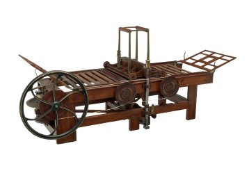 The style of bed and platen printing press in this patent model inspired Issac Adams' design of the later Adams Power Press, which was praised by early 19th century printers for its production of quality book work.