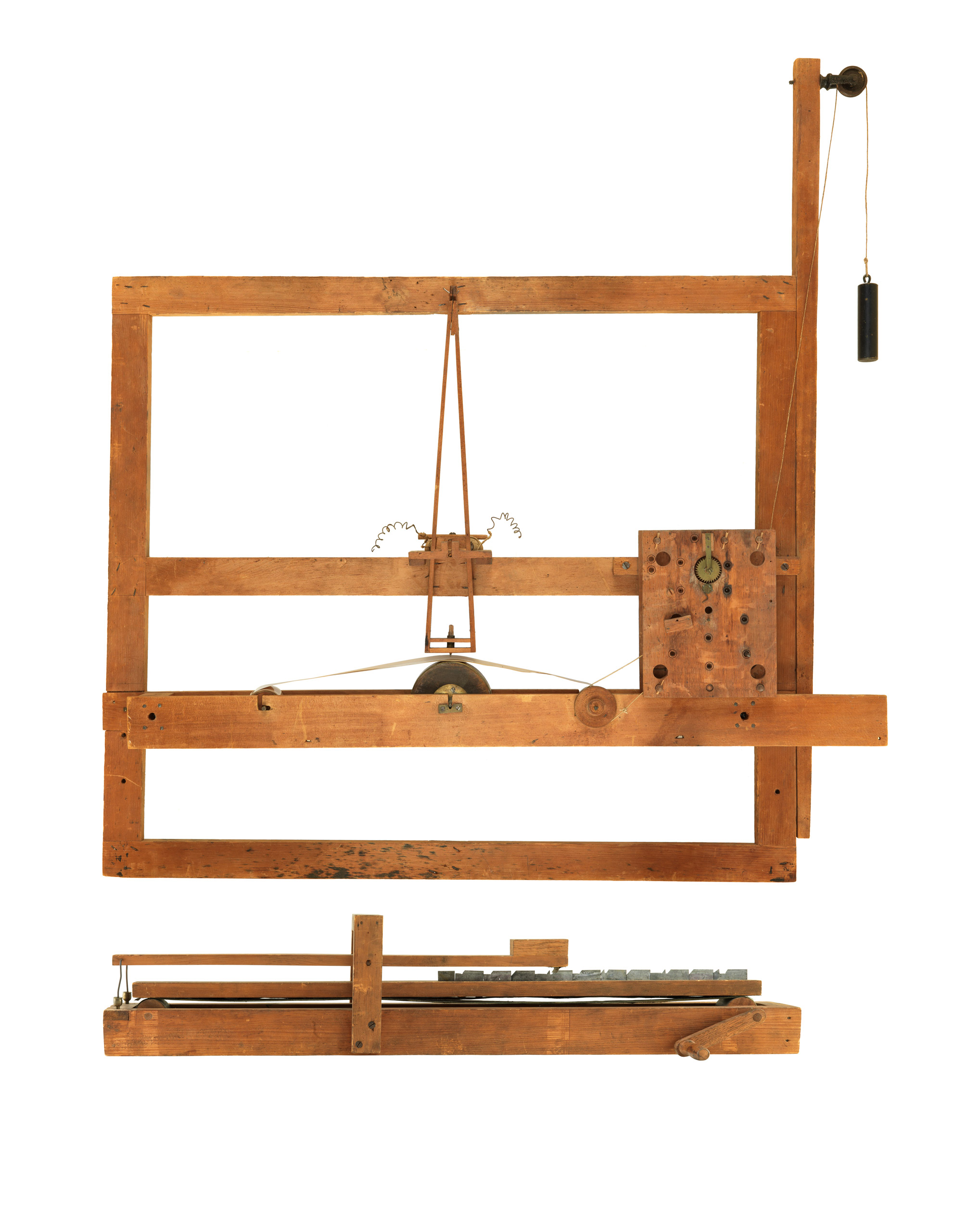 Telegraph, 1837: Samuel F. B. Morse, Prototype.                                                                      Samuel F. B. Morse converted an artist's canvas stretcher into a telegraph receiver that recorded a message as a wavy line on a strip of paper. His telegraph transmitter sent electric pulses representing letter and numbers that activated an electromagnet on the receiver.