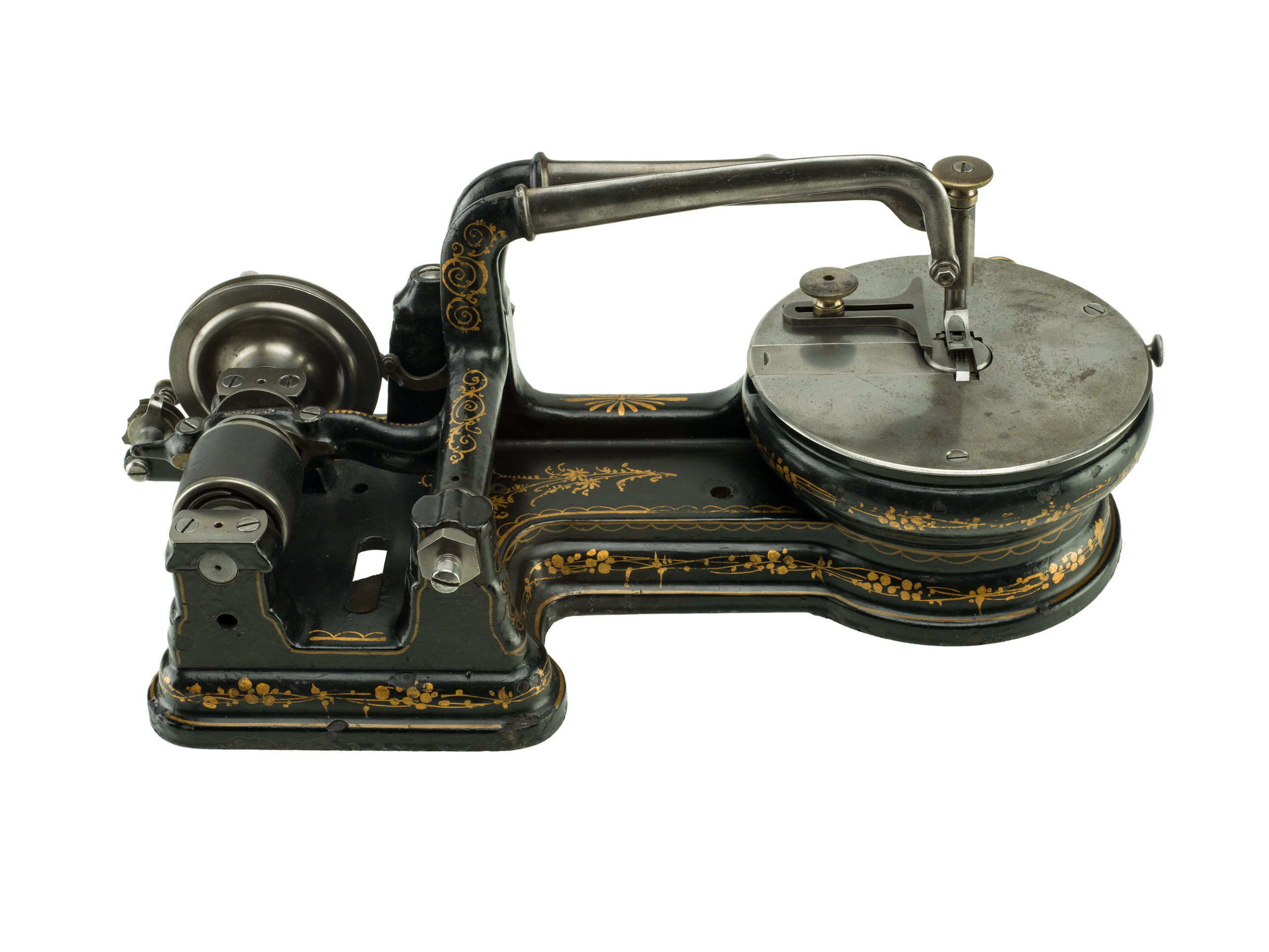 "Sewing Machine, 1873: Helen Blanchard, (Patent No. 141987).                                   This patent model for an improvement in sewing machines introduced the buttonhole stitch. Blanchard received some 28 patents, many having to do with sewing. She is best remembered for another overstitch sewing invention, the ""zigzag."""
