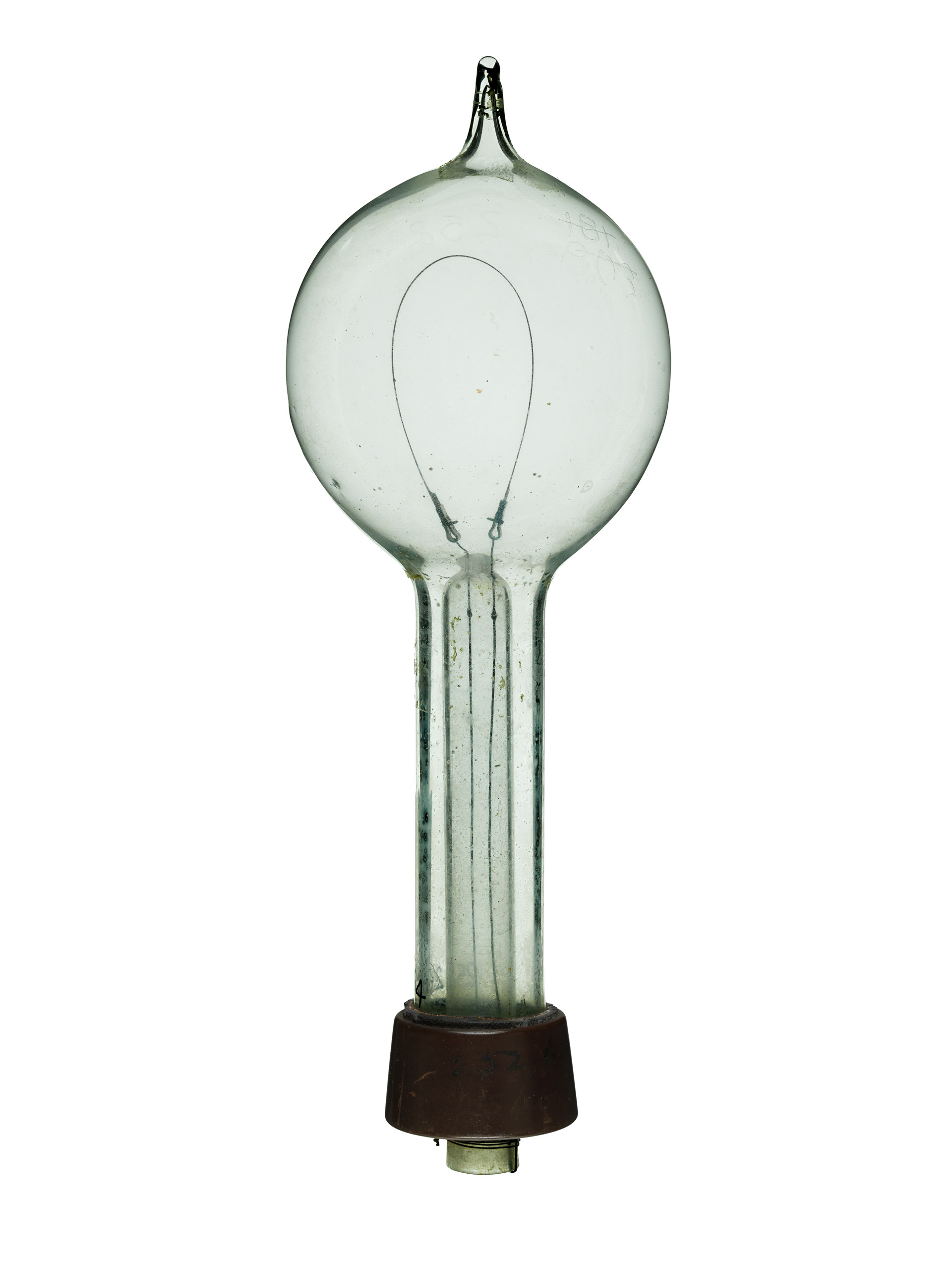 Incandescent Lamp, 1881: Thomas Edison (Patent No. 239373).                                     Thomas Edison submitted this model to patent a variation on his newly invented light bulb. Although he never put this design into production, this lamp could be disassembled to replace a burned-out filament.