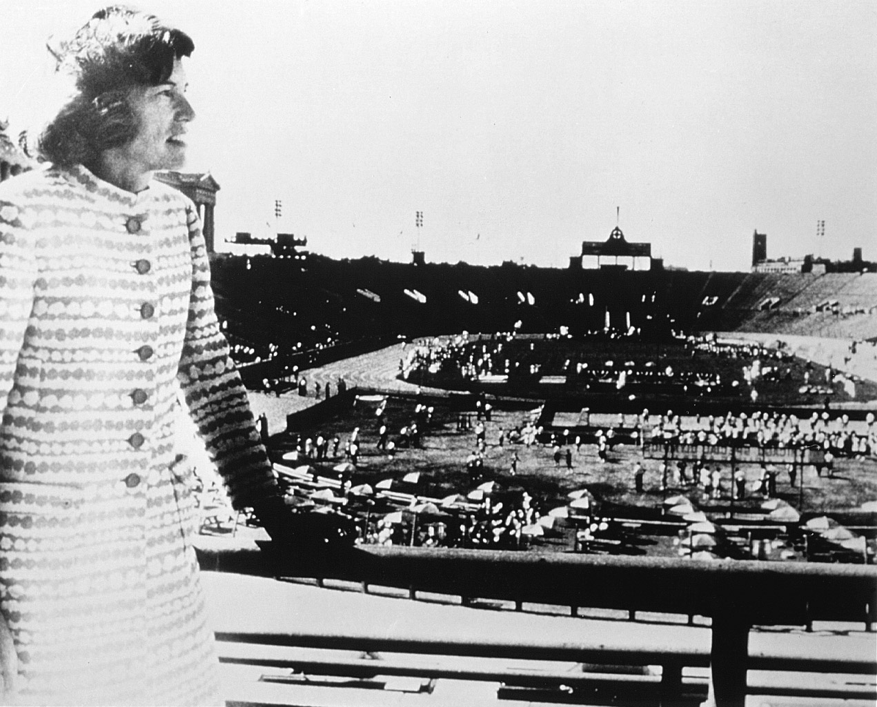 Eunice Kennedy Shriver looks over Soldier Field on July 20, 1968, as the debut Special Olympics Games get underway.