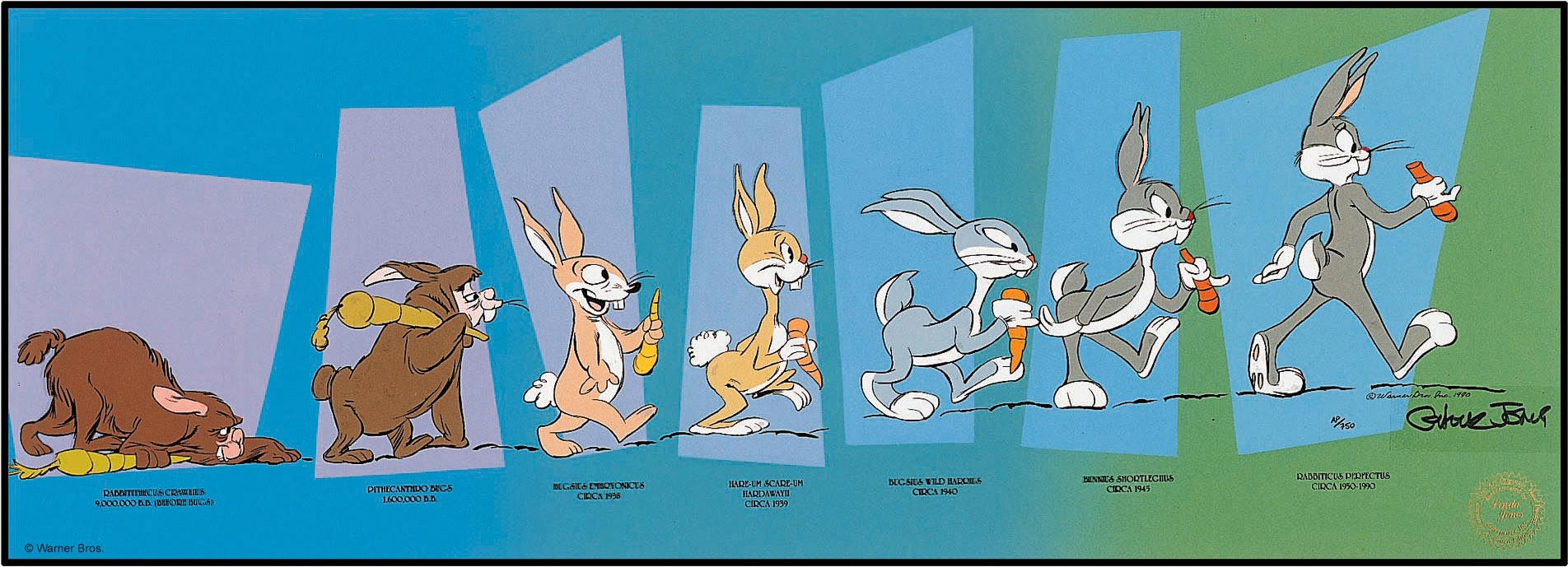 The Evolution of Bugs Bunny  a hand-painted cel art edition by Chuck Jones