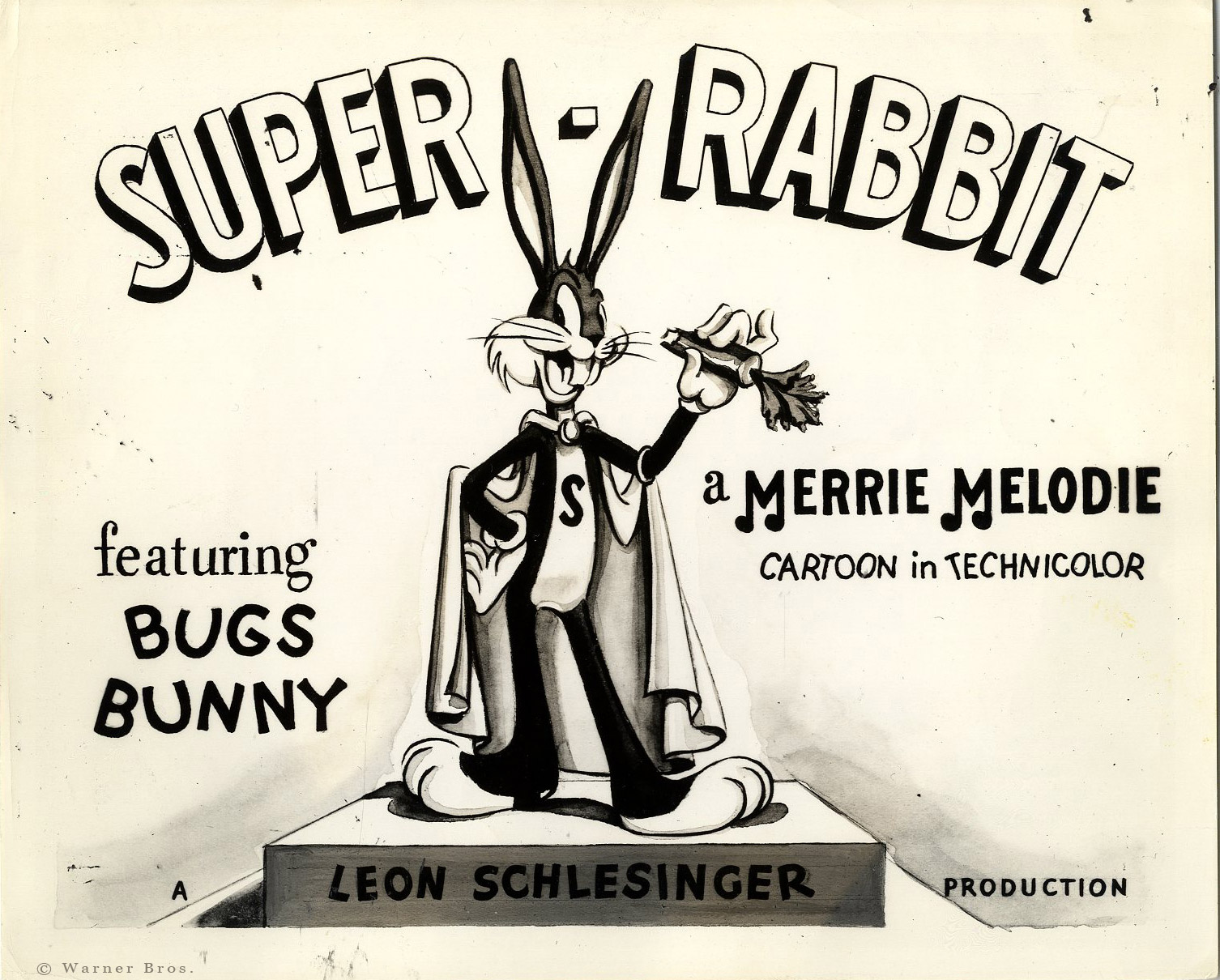 Original lobby card for the 1943 Chuck Jones directed  Super Rabbit