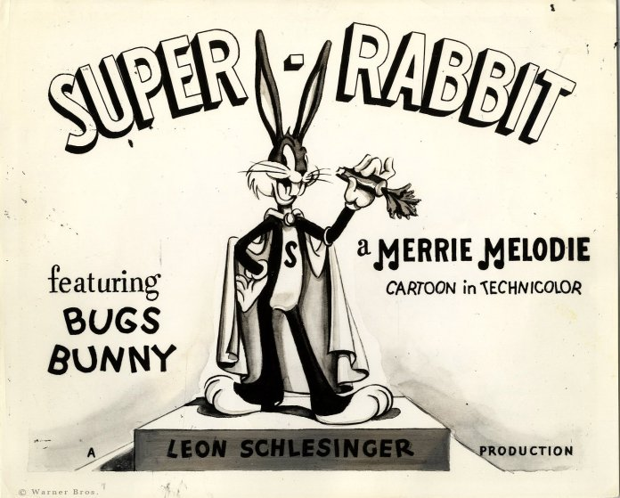 "Original lobby card for the 1943 Chuck Jones directed ""Super Rabbit"""