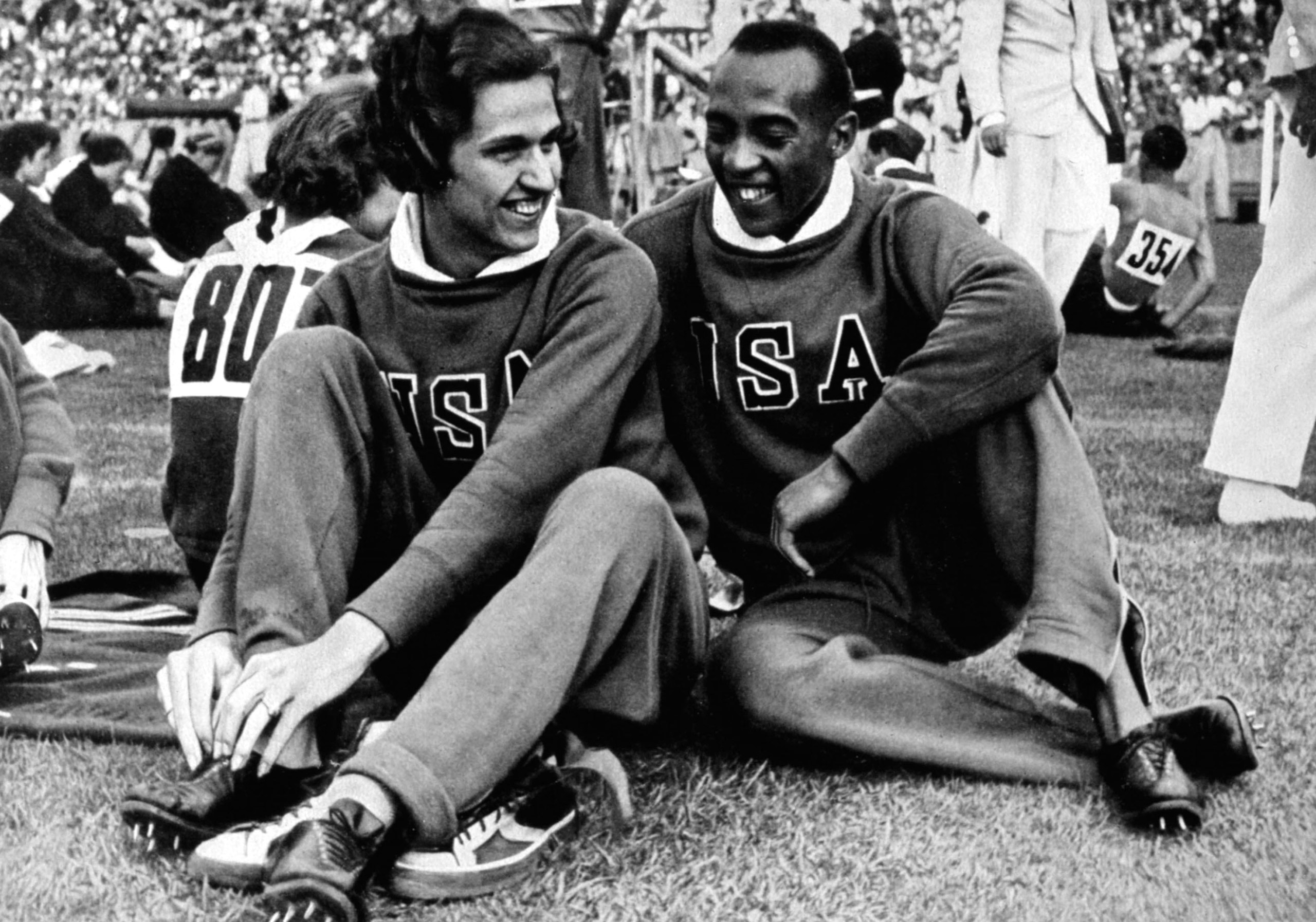 Jesse Owens and Helen Stephens at the Berlin Olympic Games in 1936