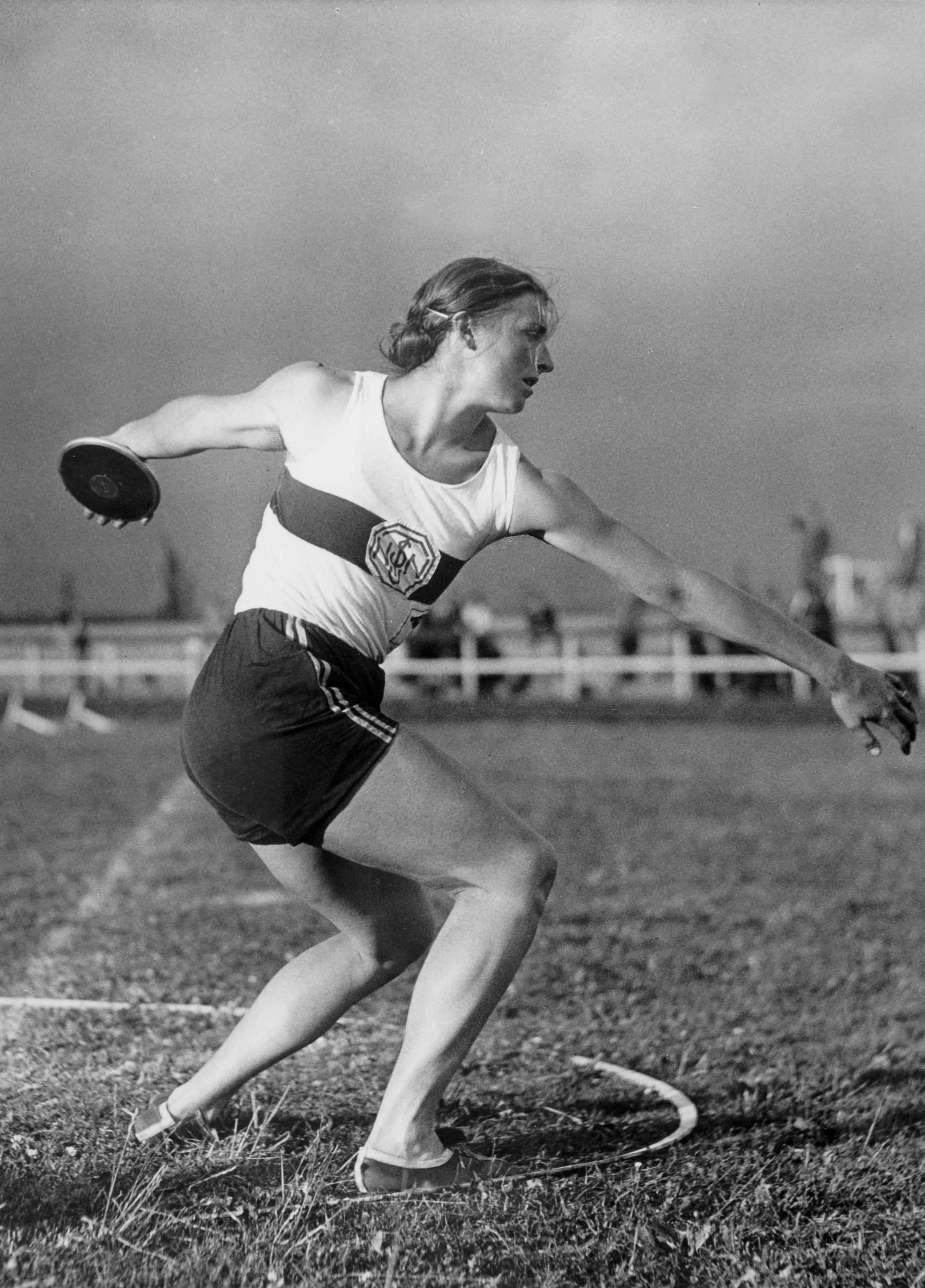 Gisela Mauermayer, of Germany, winner of the gold medal in the Discus event at the 1936 Olympic Games.