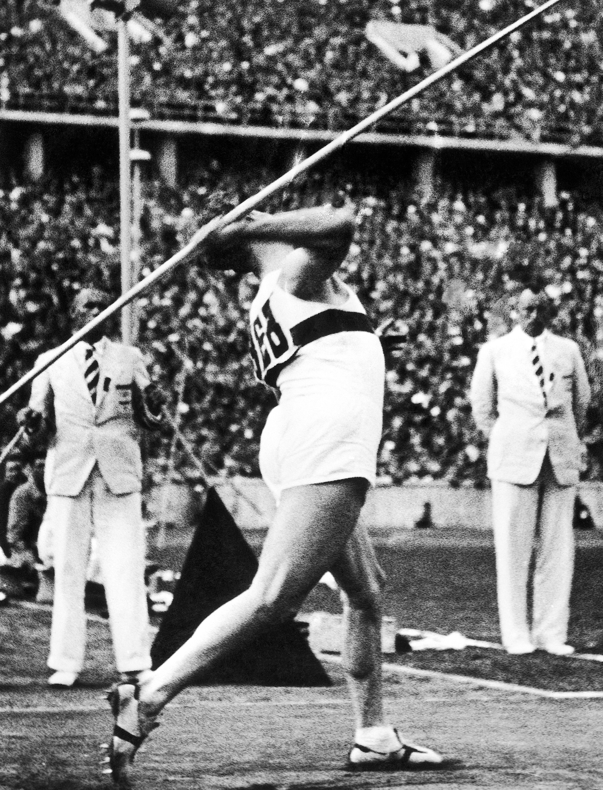 Winner of the men's javelin throw event at the Summer Olympic Games, German athlete Gerhard Stoeck. in action on Aug. 6, 1936 in Berlin