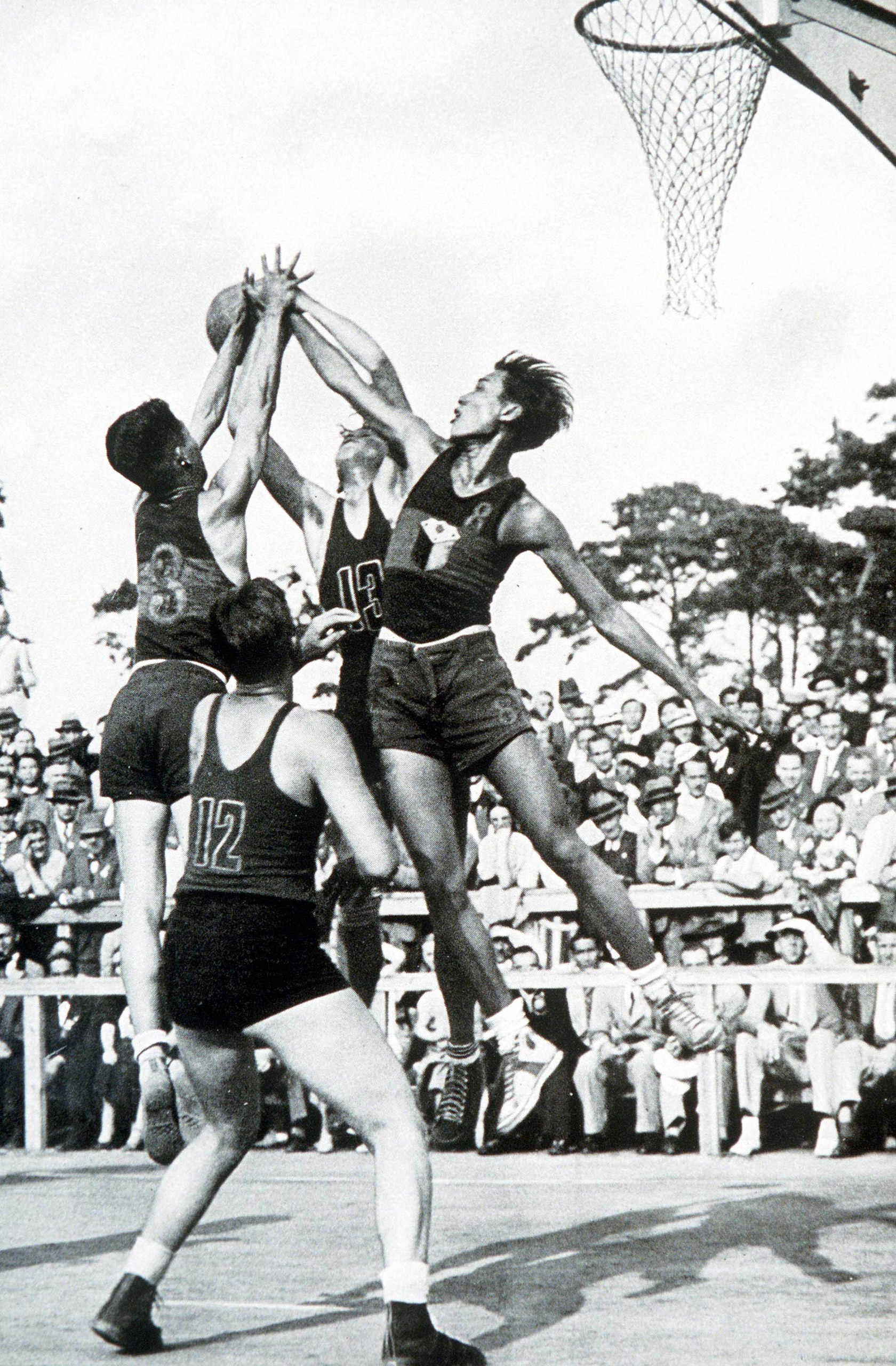 Basketball action between the Philippines and Mexico at the 1936 Olympic Games in Berlin