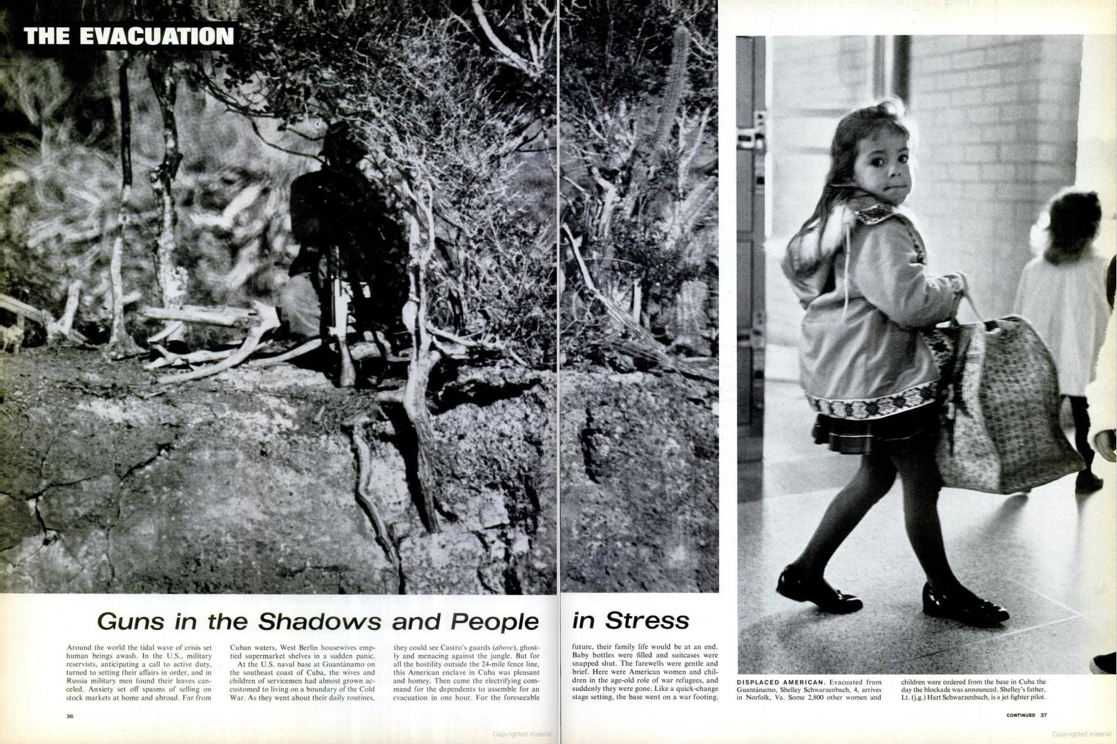 November 2, 1962 issue of LIFE magazine. Spread shows the shadow of a Cuban guard outside of Guantanamo and the daughter of a jet fighter pilot arriving in Virginia after evacuating from Guantanamo.