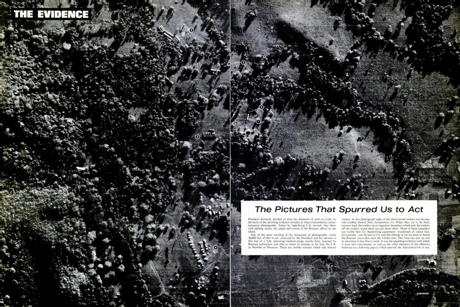 November 2, 1962 issue of LIFE magazine. Spread shows photographs taken by a U.S. spy plan confirming the presence of Soviet missiles on Cuban soil.