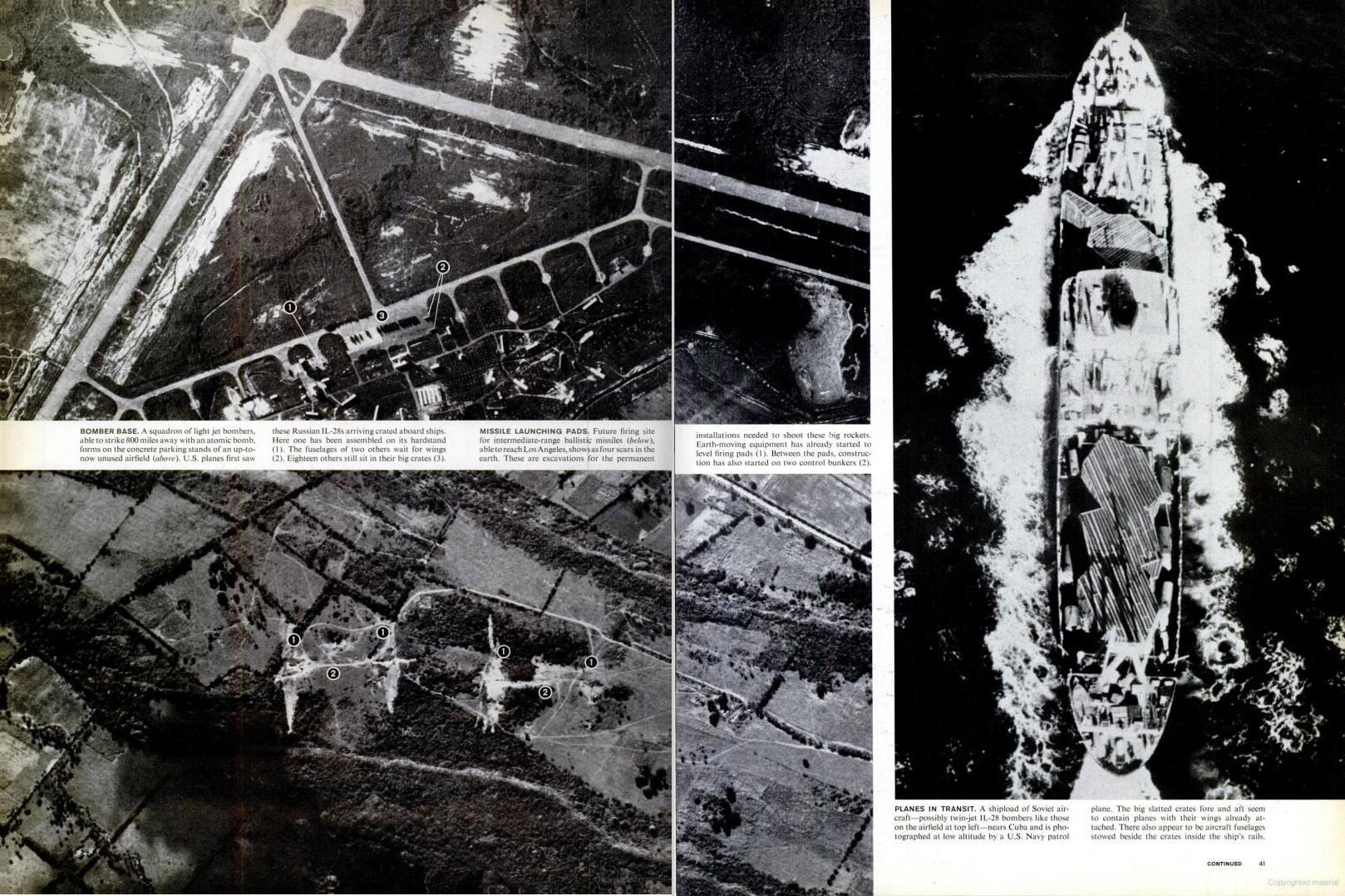 November 2, 1962 issue of LIFE magazine. Spread shows more Soviet missiles and a Soviet ship carrying aircraft.