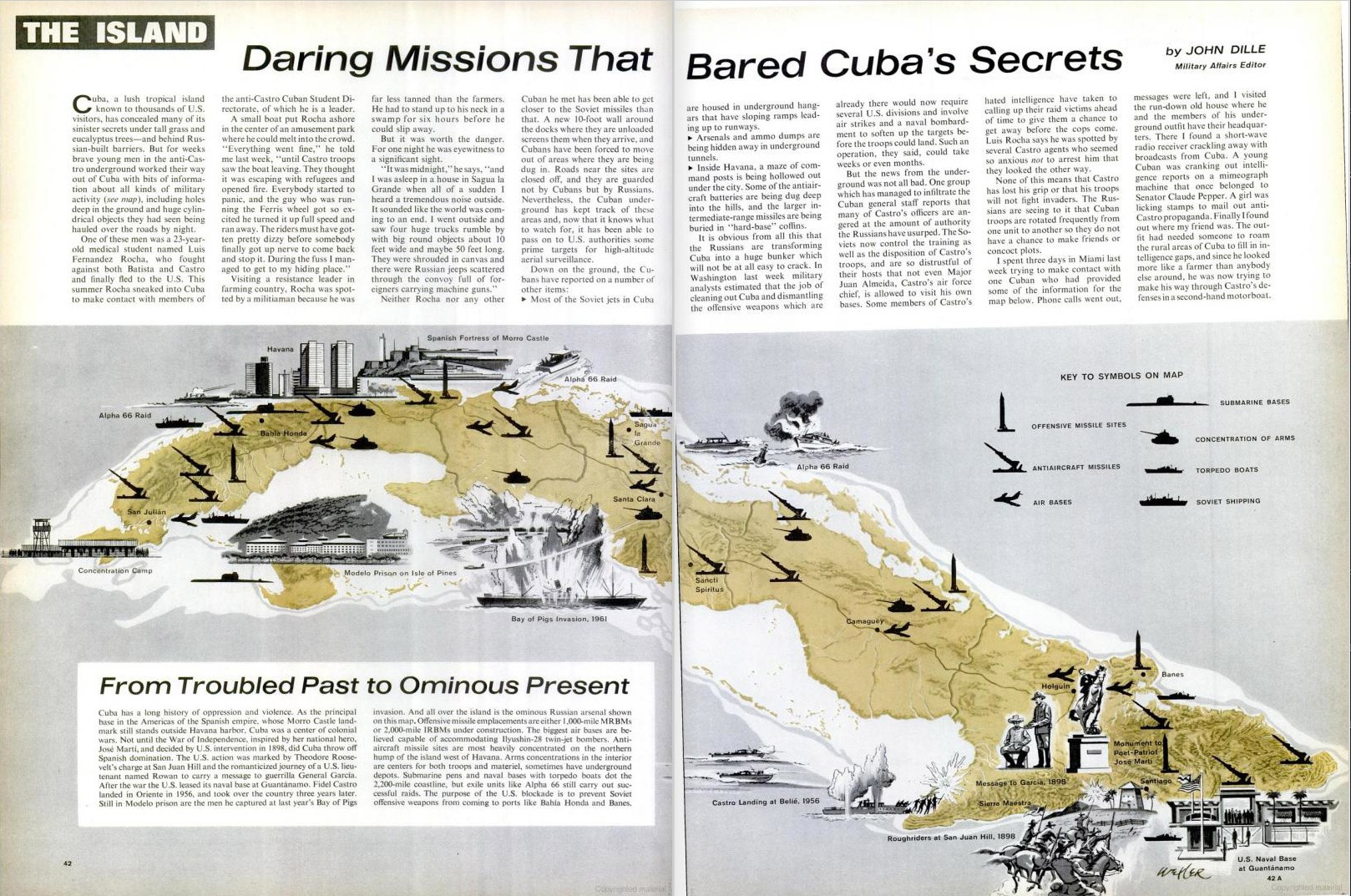 November 2, 1962 issue of LIFE magazine. Spread shows an illustration of the placement of Soviet missiles in Cuba.