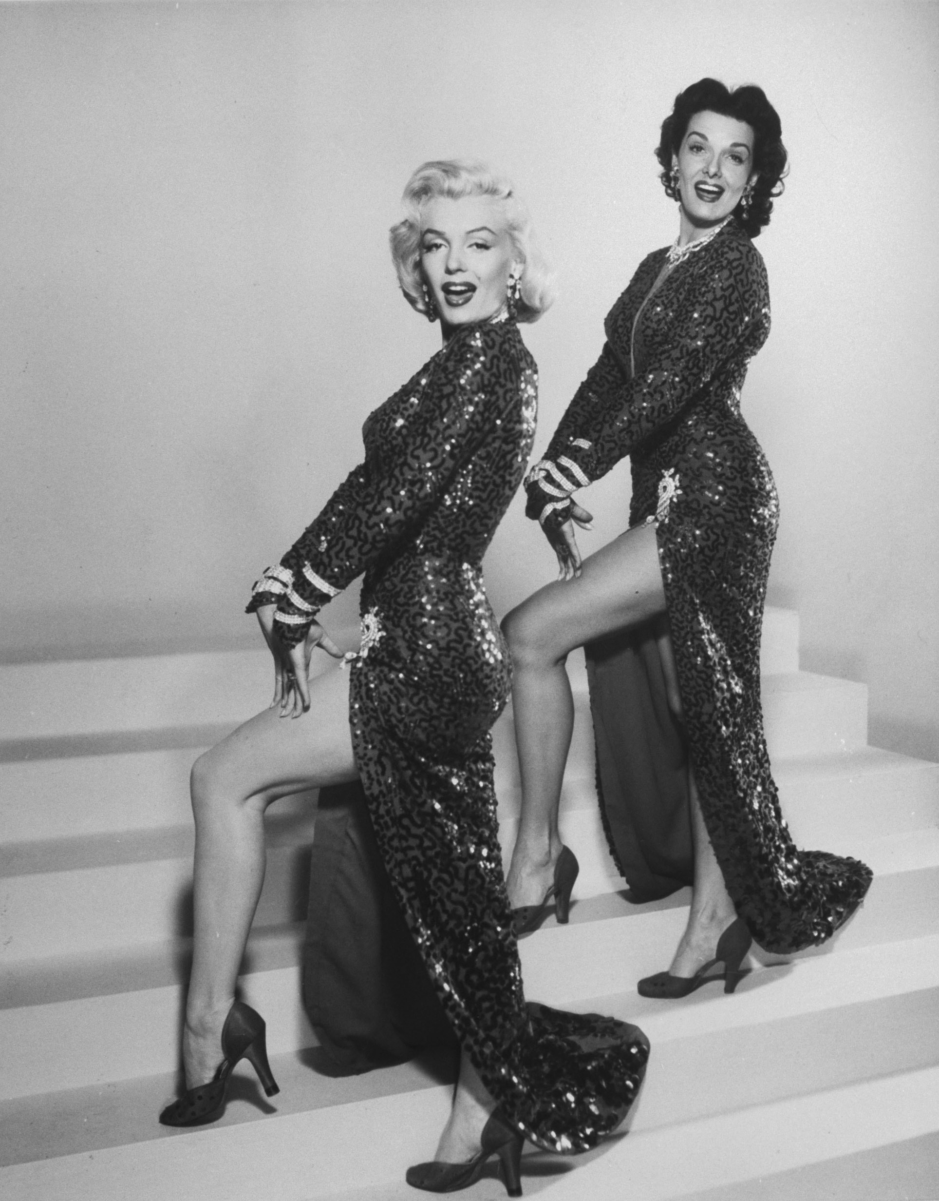 "Marilyn Monroe and  Jane Russell in a scene from the movie ""Gentlemen Prefer Blondes,"" 1953."