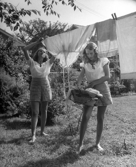 Chores are receiving new respect, for 1947 teen-agers think of marriage much more seriously than their wartime equivalents did. Note the frilliness of Betty's shorts.