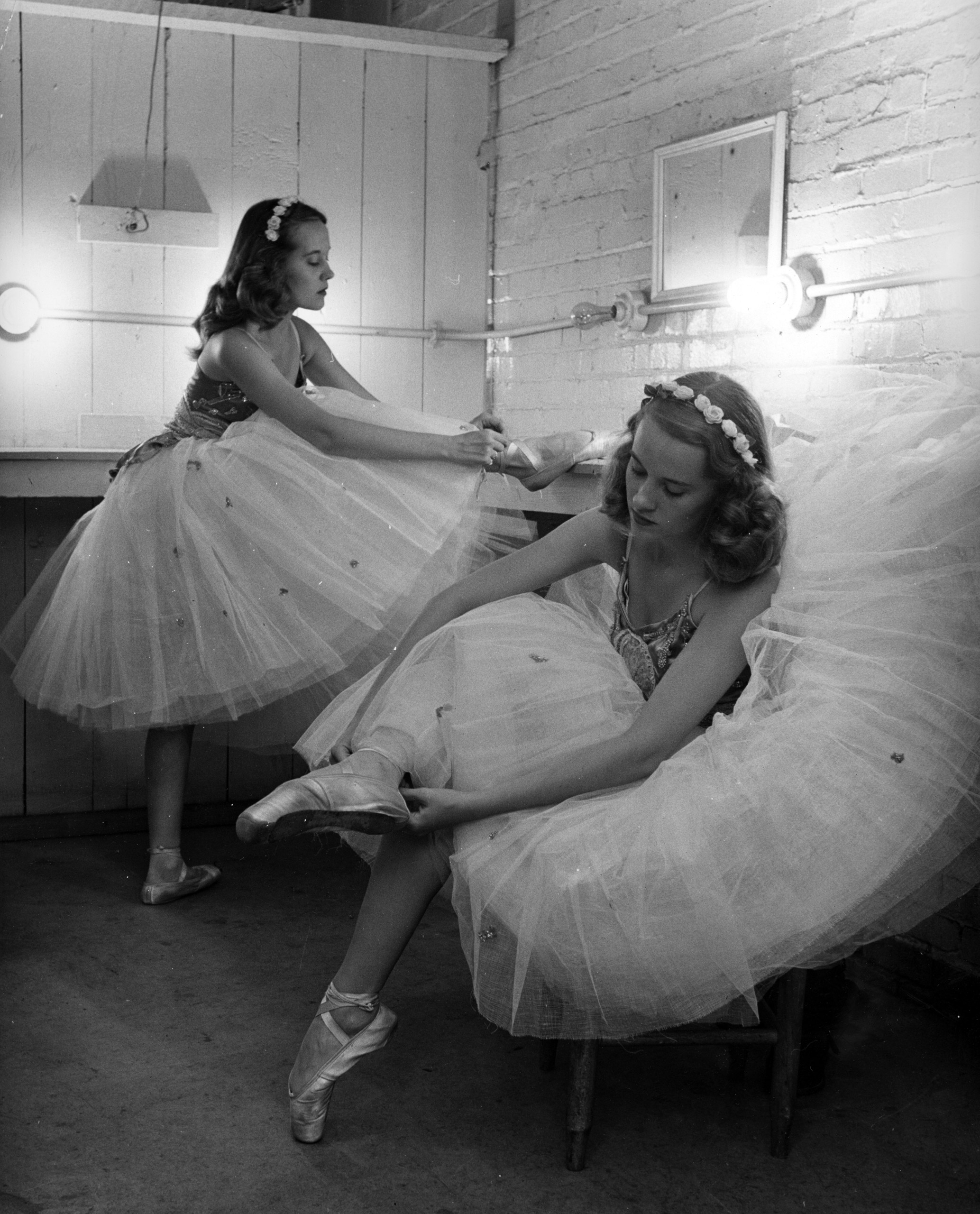The Bounds sisters get ready for ballet class.