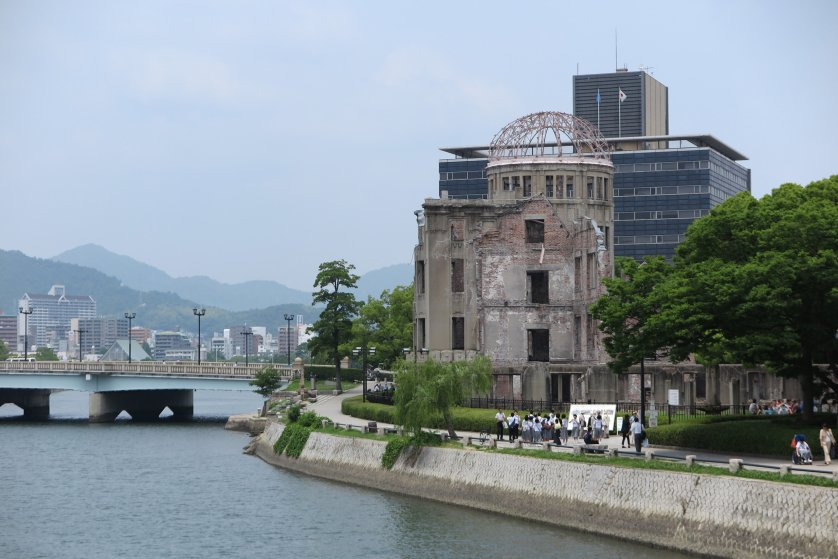 View of the peace memorial, the Atomic Bomb Dome, in Hiroshima, Japan, 24 June 2015.
