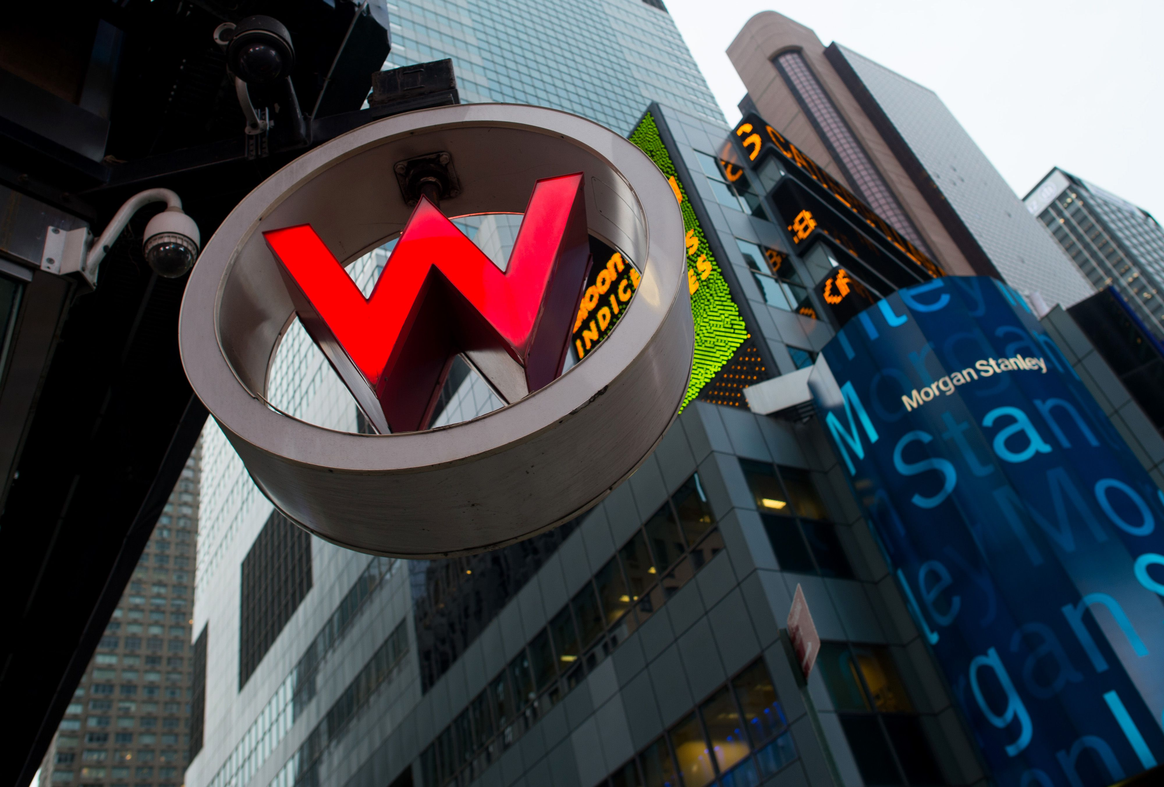 Signage for the W Hotel New York in Times Square. W Hotel is part of Starwood Hotels.
