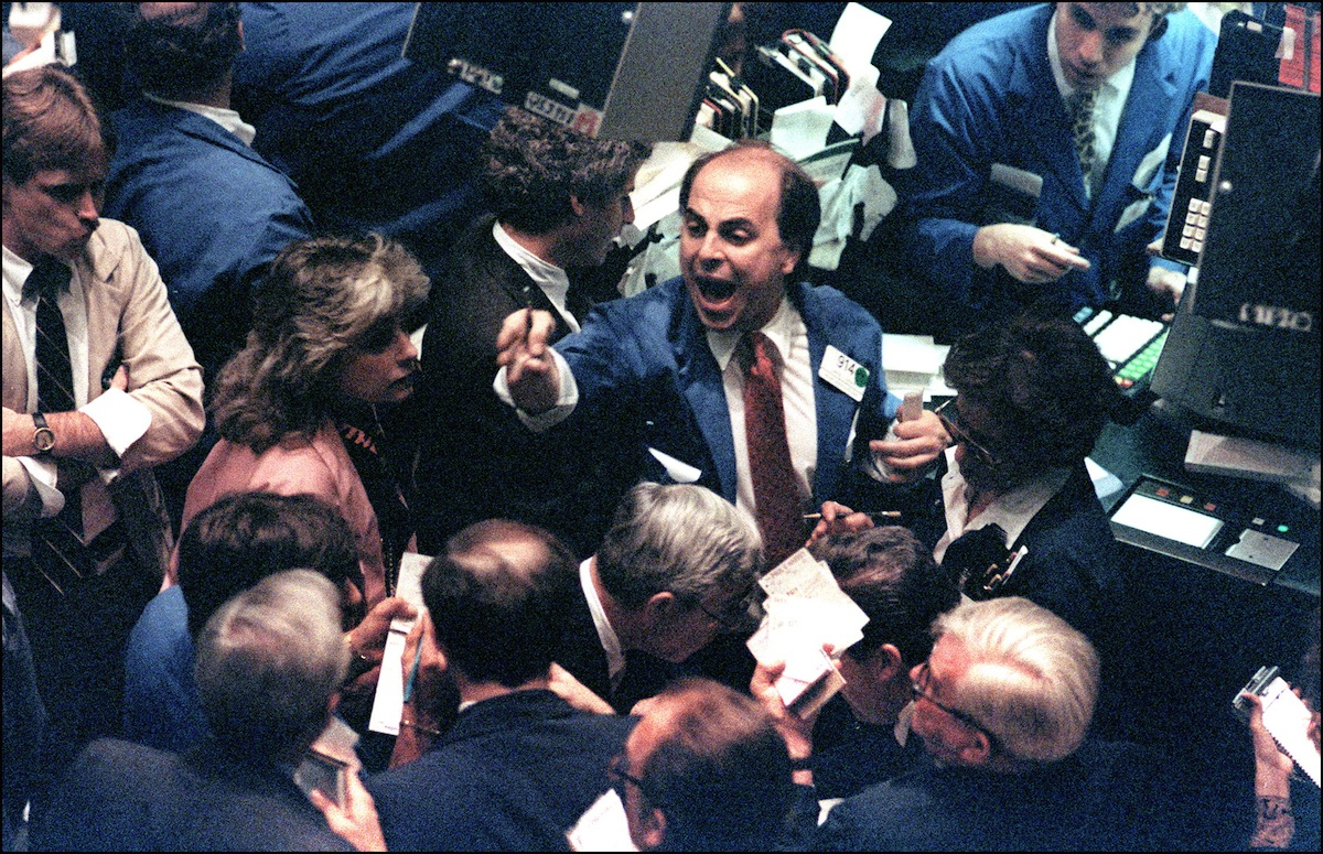 A trader on the New York Stock Exchange on Oct. 19, 1987.
