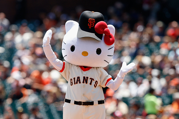 Hello Kitty throws out the first pitch before the game between the Colorado Rockies and the San Francisco Giants at AT&T Park in San Francisco on June 28, 2015