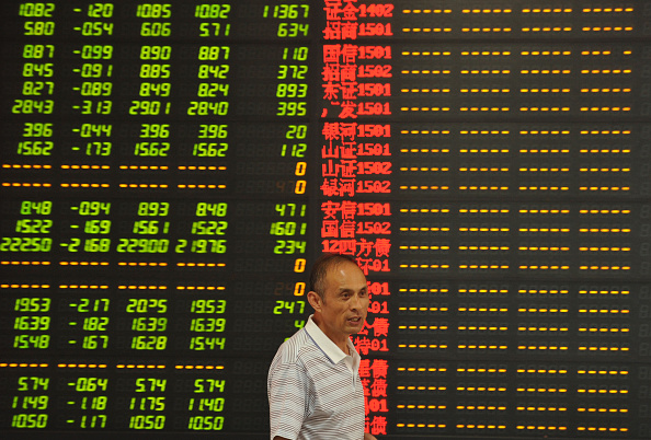 An investor observes stock market at a stock exchange hall on July 8, 2015 in Fuyang, Anhui Province of China
