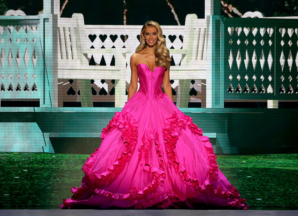 Miss Oklahoma Olivia Jordan poses onstage at the 2015 Miss USA Pageant Only On ReelzChannel at The Baton Rouge River Center on July 12, 2015 in Baton Rouge, La.