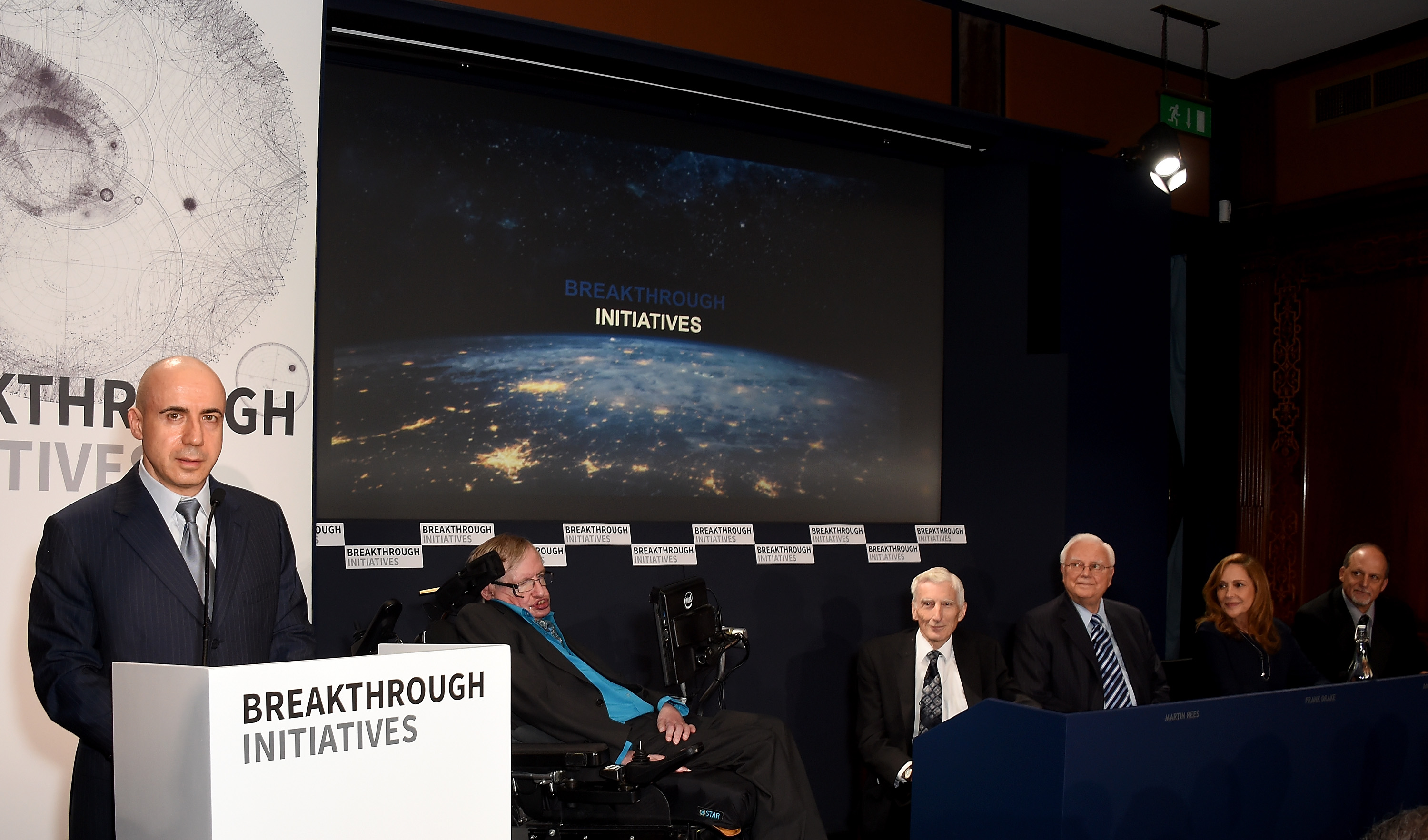 DST Global Founder Yuri Milner, Theoretical Physicist Stephen Hawking, Cosmologist and astrophysicist Lord Martin Rees, Chairman Emeritus, SETI Institute Frank Drake, Creative Director of the Interstellar Message, NASA Voyager Ann Druyan and Professor of Astronomy, University of California Geoff Marcy attend a press conference on the Breakthrough Life in the Universe Initiatives.