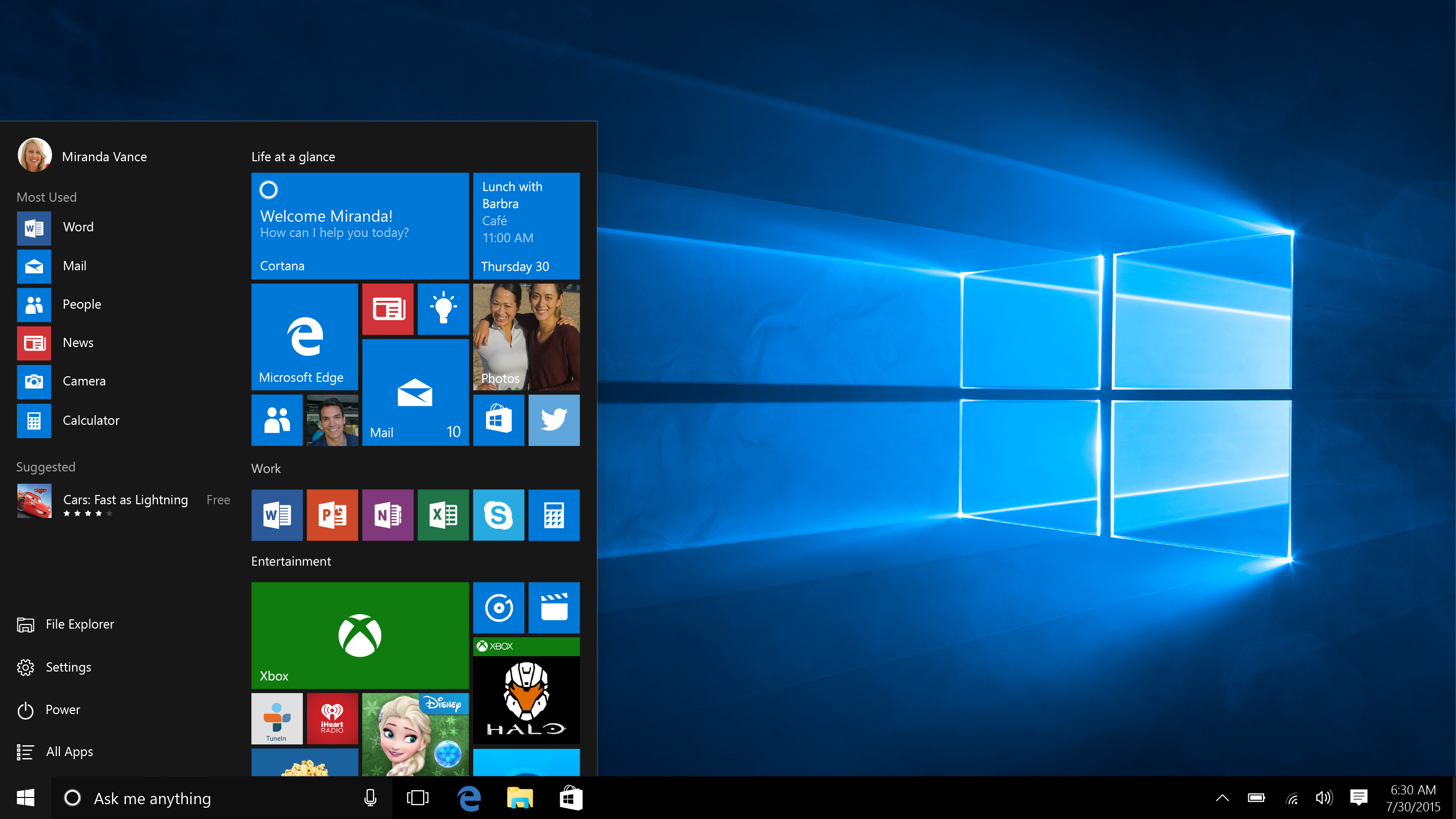 Windows 10 which released on July 29, 2015, blends the familiar layout of Windows 7 with touch features from Windows 8. The Start menu makes a grand reentrance, with Live Tiles discreetly tucked inside. Cortana, Microsoft's speech-activated assistant for smartphones, will also debut across all devices.