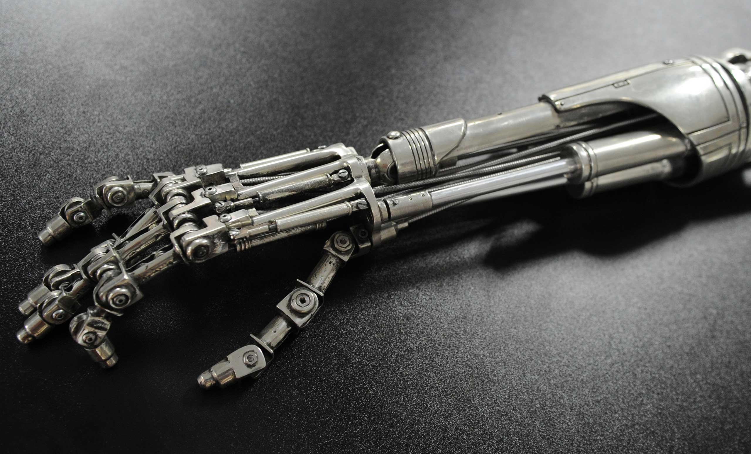 A prop endoskeleton arm from the movie  Terminator 2: Judgement Day.